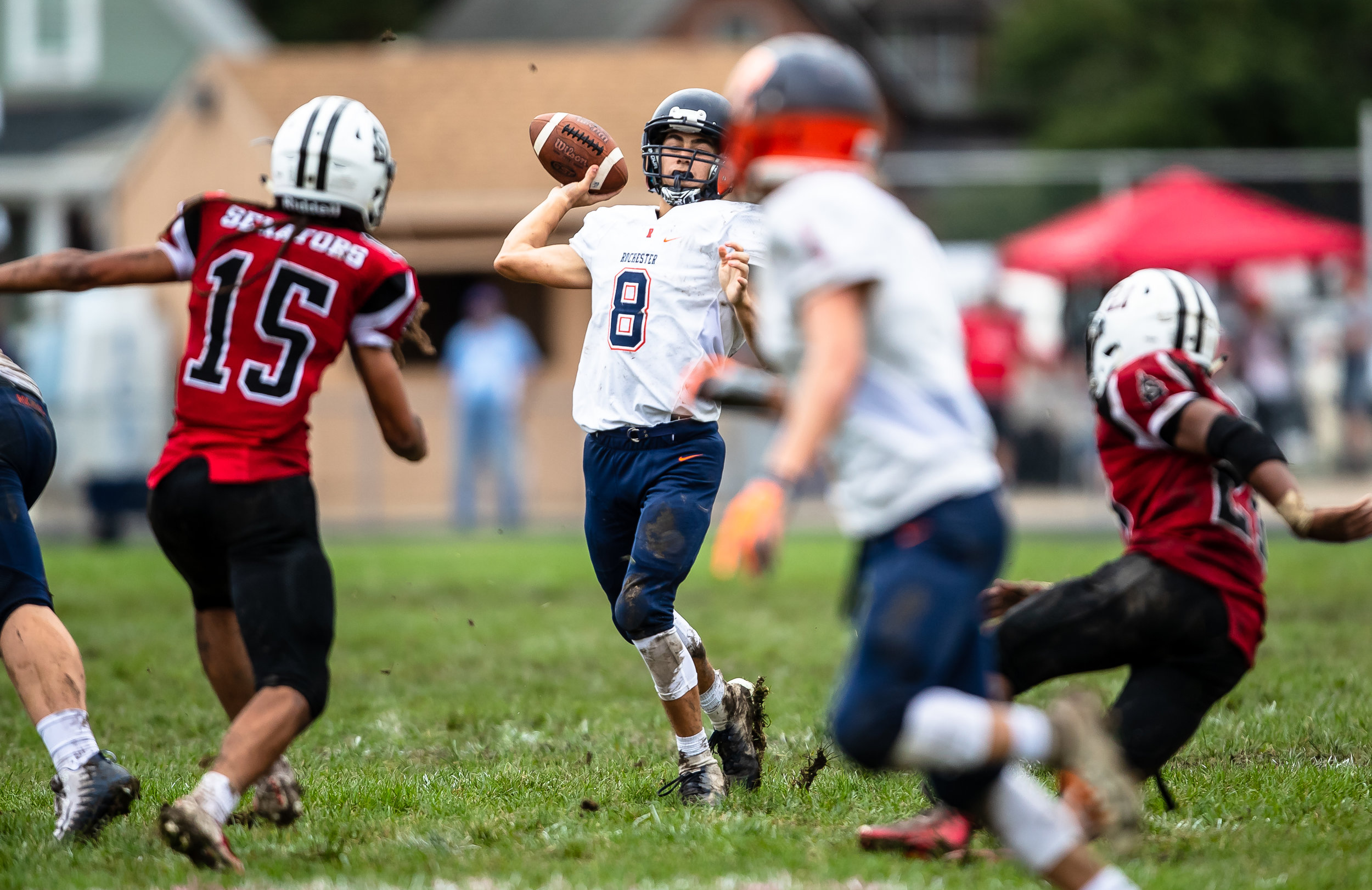 Rochester's Hank Beatty (8) launches a pass against Springfield in the first half at Memorial Stadium, Saturday, Oct. 6, 2018, in Springfield, Ill. [Justin L. Fowler/The State Journal-Register]