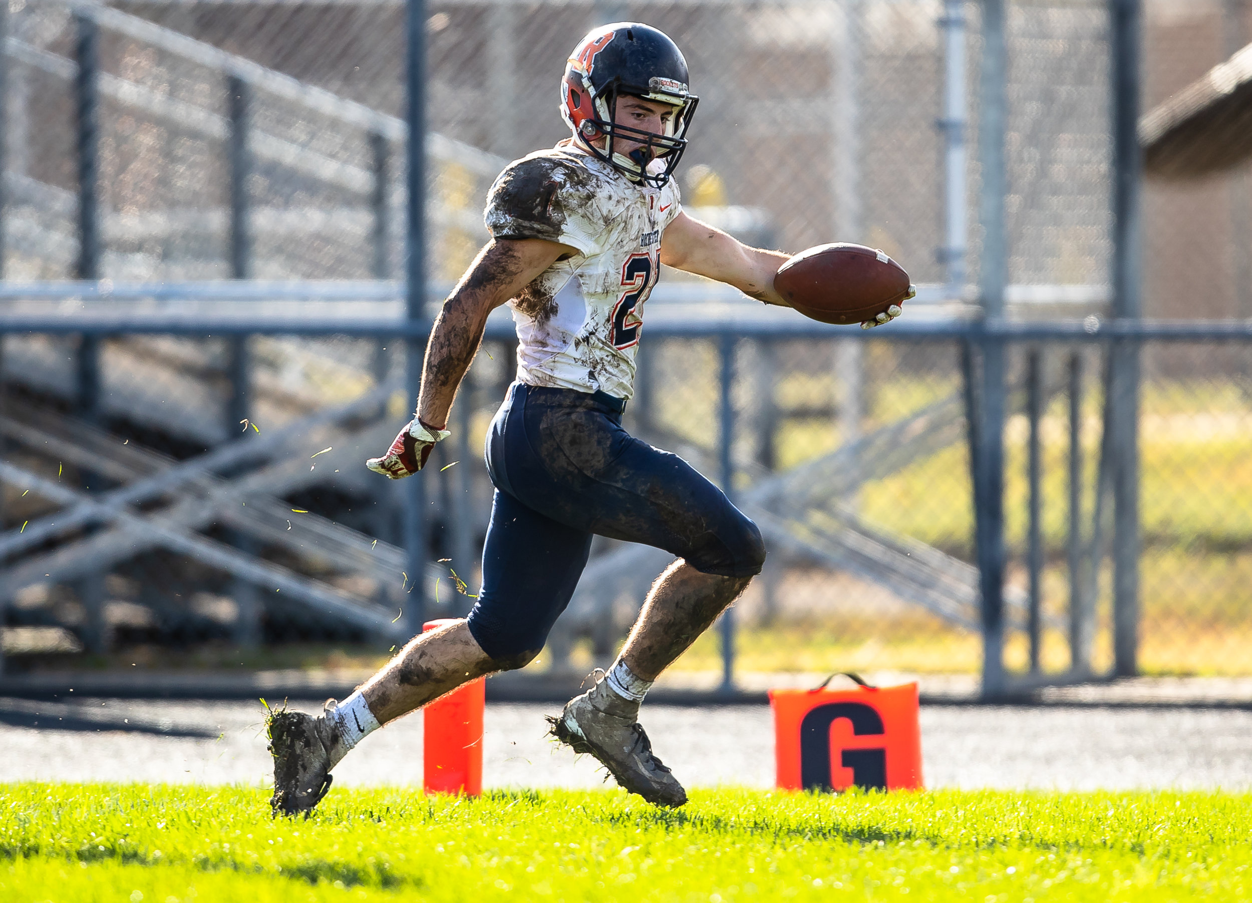 Rochester's David Yoggerst (21) goes in for a touchdown against Springfield in the second half at Memorial Stadium, Saturday, Oct. 6, 2018, in Springfield, Ill. [Justin L. Fowler/The State Journal-Register]