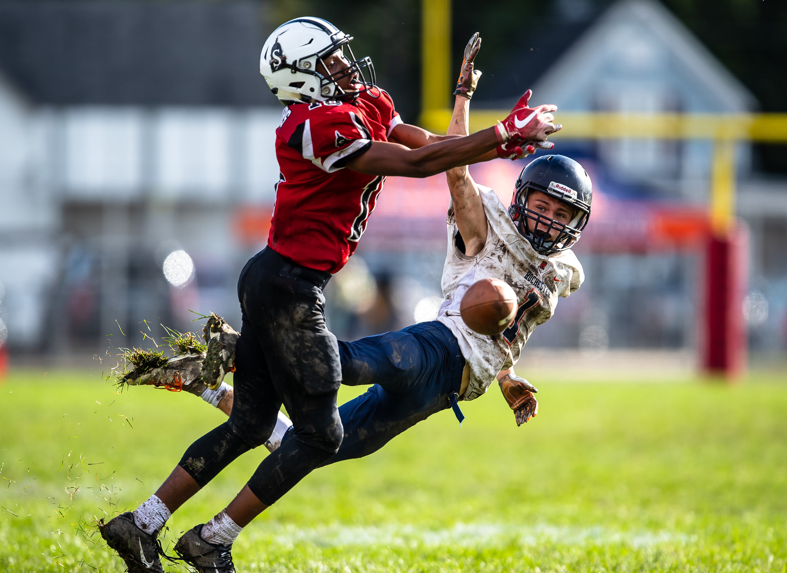 Springfield's Dylan Thomas (18) is called for pass interference while trying to keep Rochester's Riley Lewis (1) from making a catch in the second half at Memorial Stadium, Saturday, Oct. 6, 2018, in Springfield, Ill. [Justin L. Fowler/The State Journal-Register]