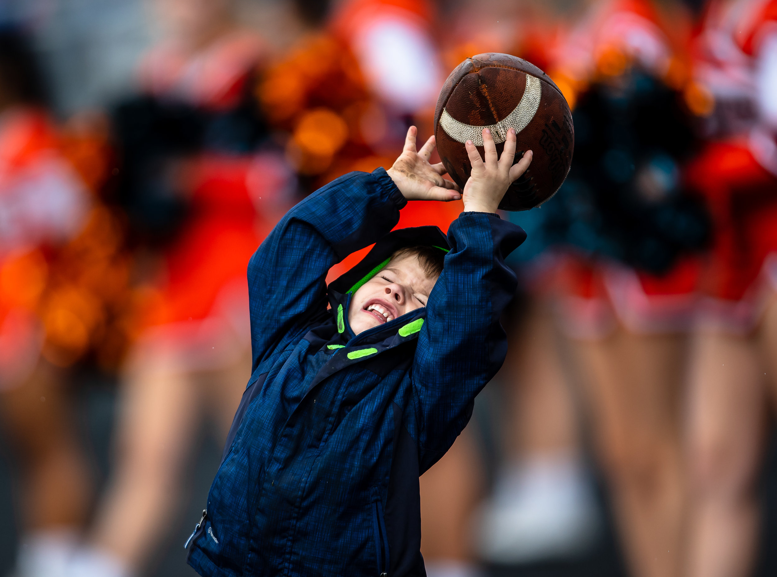 Austin Leonard, 3, catches a pass to himself along the sidelines as Rochester takes on Springfield at Memorial Stadium, Saturday, Oct. 6, 2018, in Springfield, Ill. [Justin L. Fowler/The State Journal-Register]