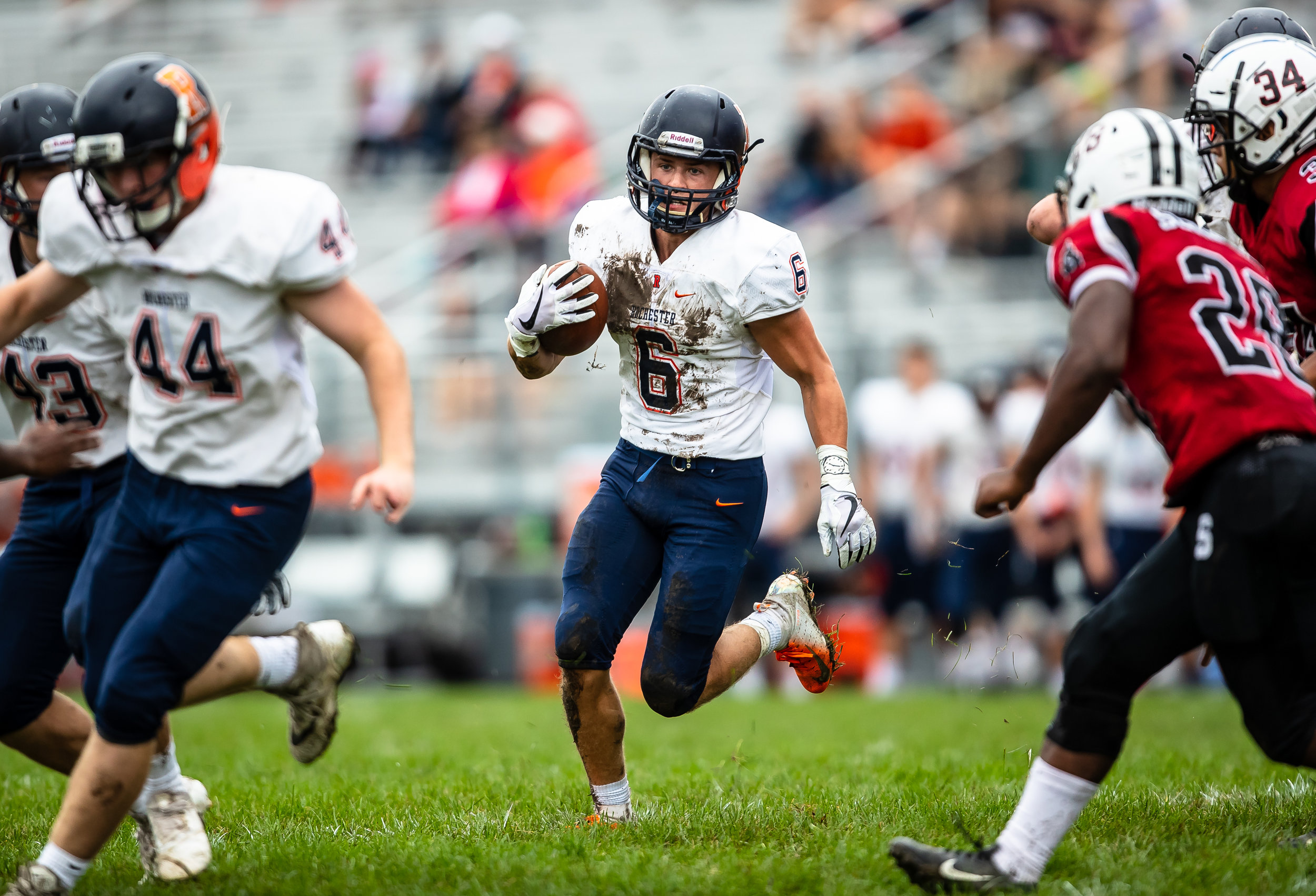 Rochester's Cade Eddington (6) looks for an opening as he follows his blockers on a run against Springfield at Memorial Stadium, Saturday, Oct. 6, 2018, in Springfield, Ill. [Justin L. Fowler/The State Journal-Register]