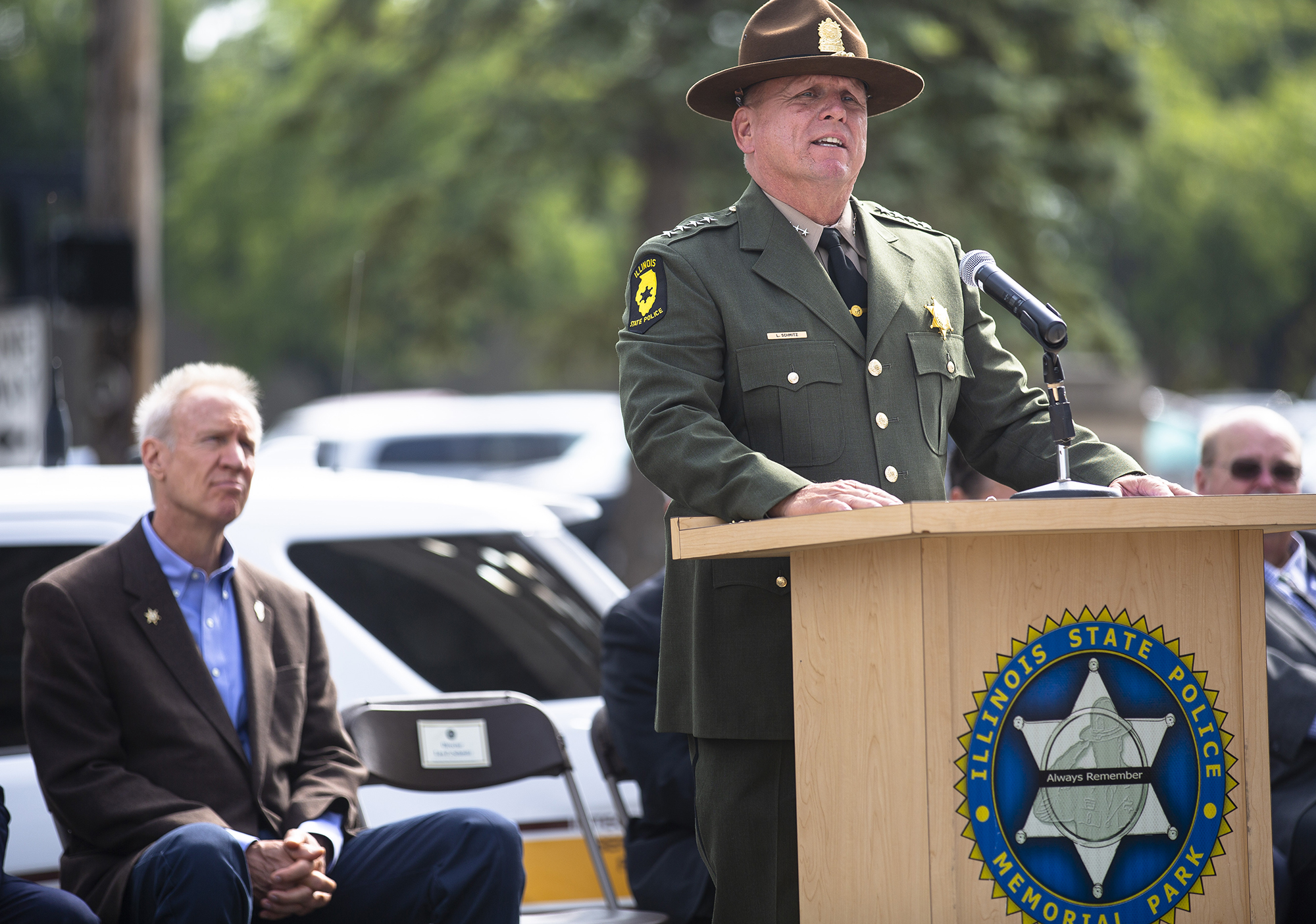 Illinois State Police Director Leo Schmitz speaks at the dedication ceremony for the department's new Memorial Park Tuesday, Oct. 2, 2018 at 615 W. Lawrence in Springfield, Ill. [Rich Saal/The State Journal-Register]