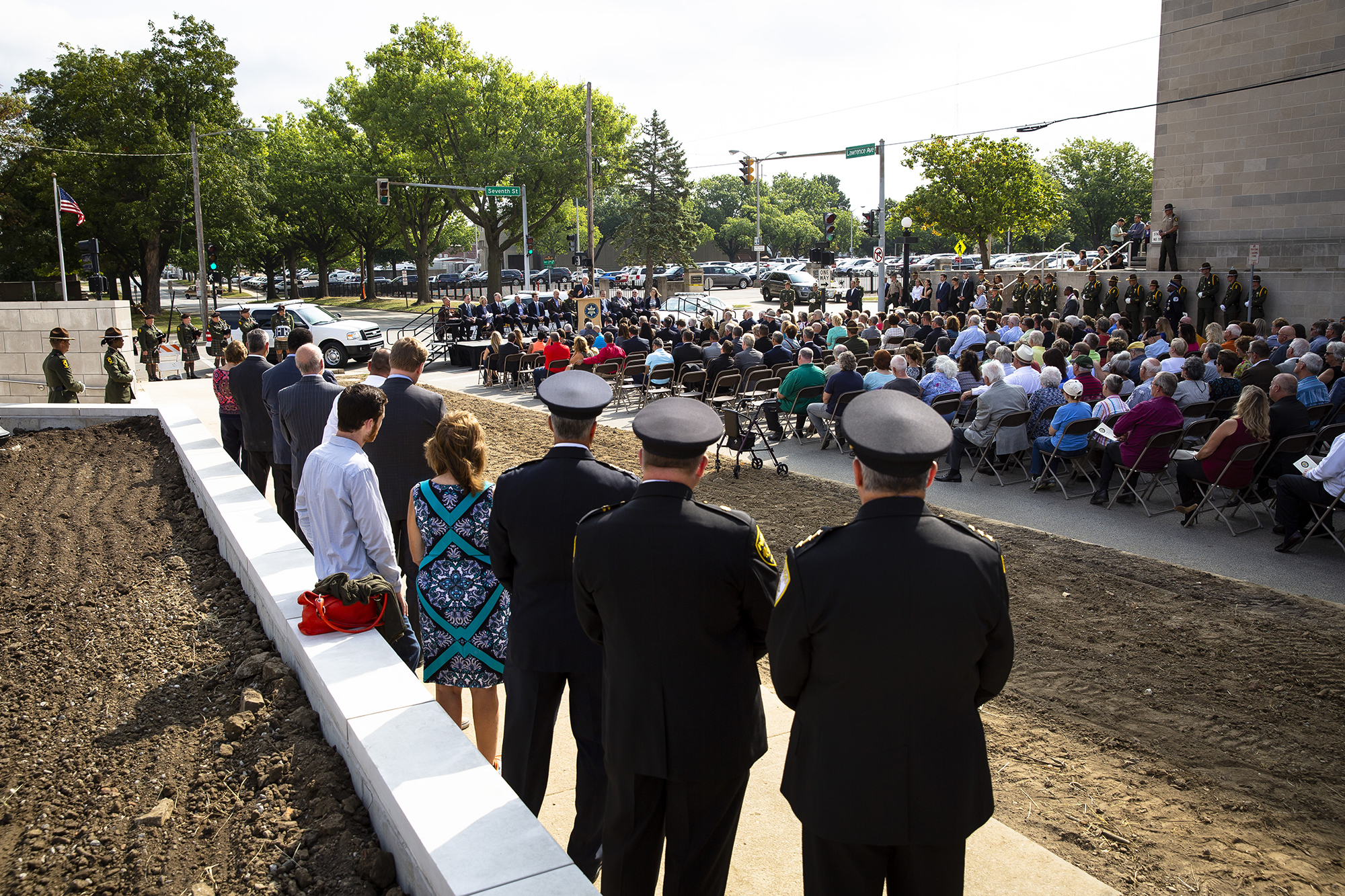 The new Illinois State Police Memorial Park was officially dedicated during a ceremony Tuesday, Oct. 2, 2018 near the State Police headquarters at the corner of Seventh and Lawrence streets in Springfield, Ill. [Rich Saal/The State Journal-Register]