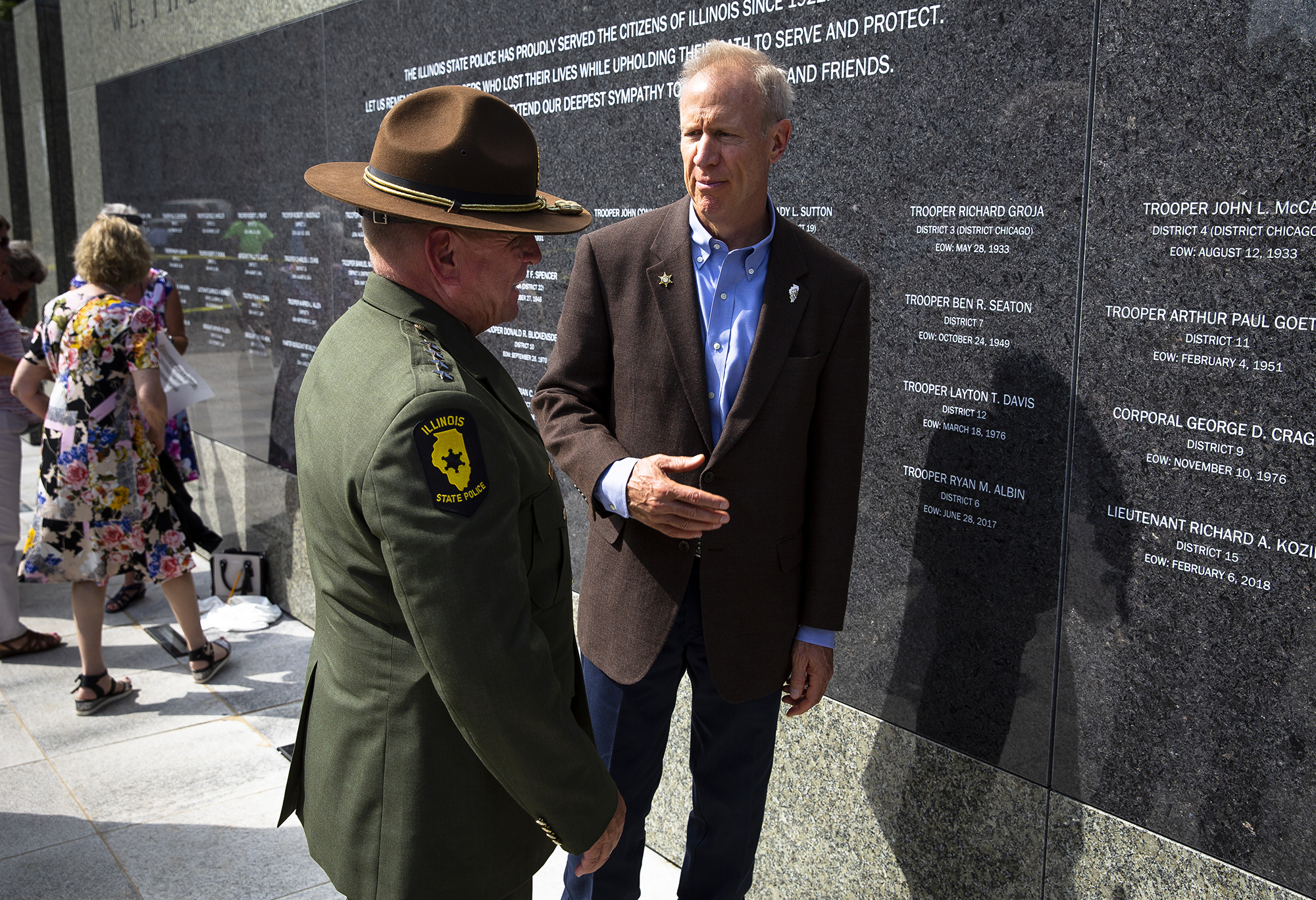 Gov. Bruce Rauner tours the new Illinois State Police Memorial Park with State Police Director Leo Schmitz following a dedication ceremony Tuesday, Oct. 2, 2018 at 615 W. Lawrence in Springfield, Ill. [Rich Saal/The State Journal-Register]