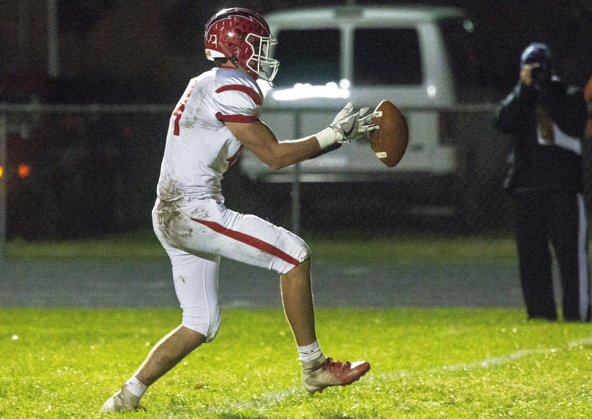 Glenwood's Tyler Burris almost lets a pass get away from him before pulling it in and scoring Friday, Oct. 12, 2018 at Southeast High School's Spartan Field in Springfield, Ill. [Rich Saal/The State Journal-Register]