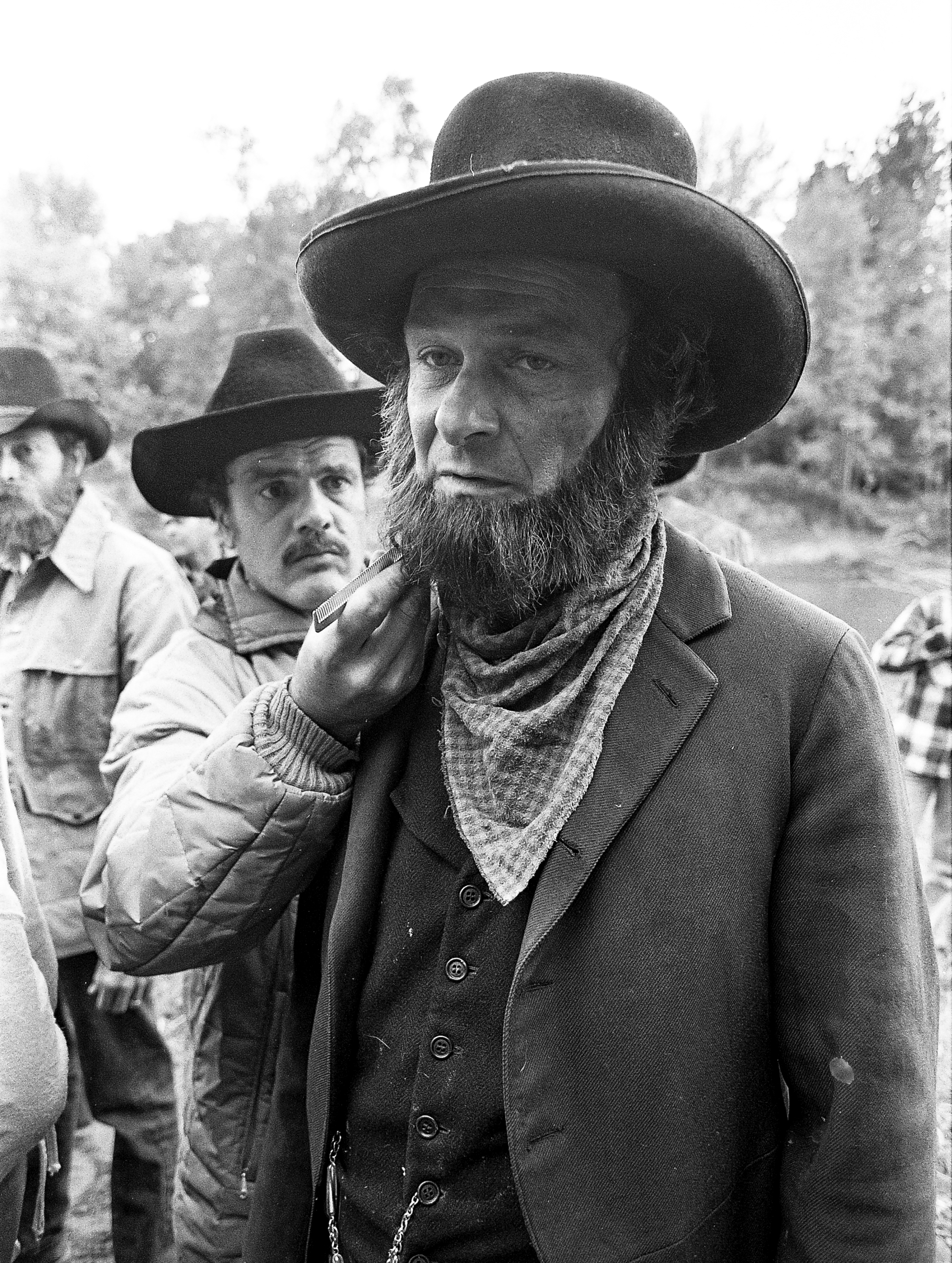 """Jerry Hardin plays Jonah Comyns in the television mini series """"The Chisholms,"""" filmed at New Salem State Historic Site, October 2, 1978. File/Bill Hagen/The State Journal-Register"""