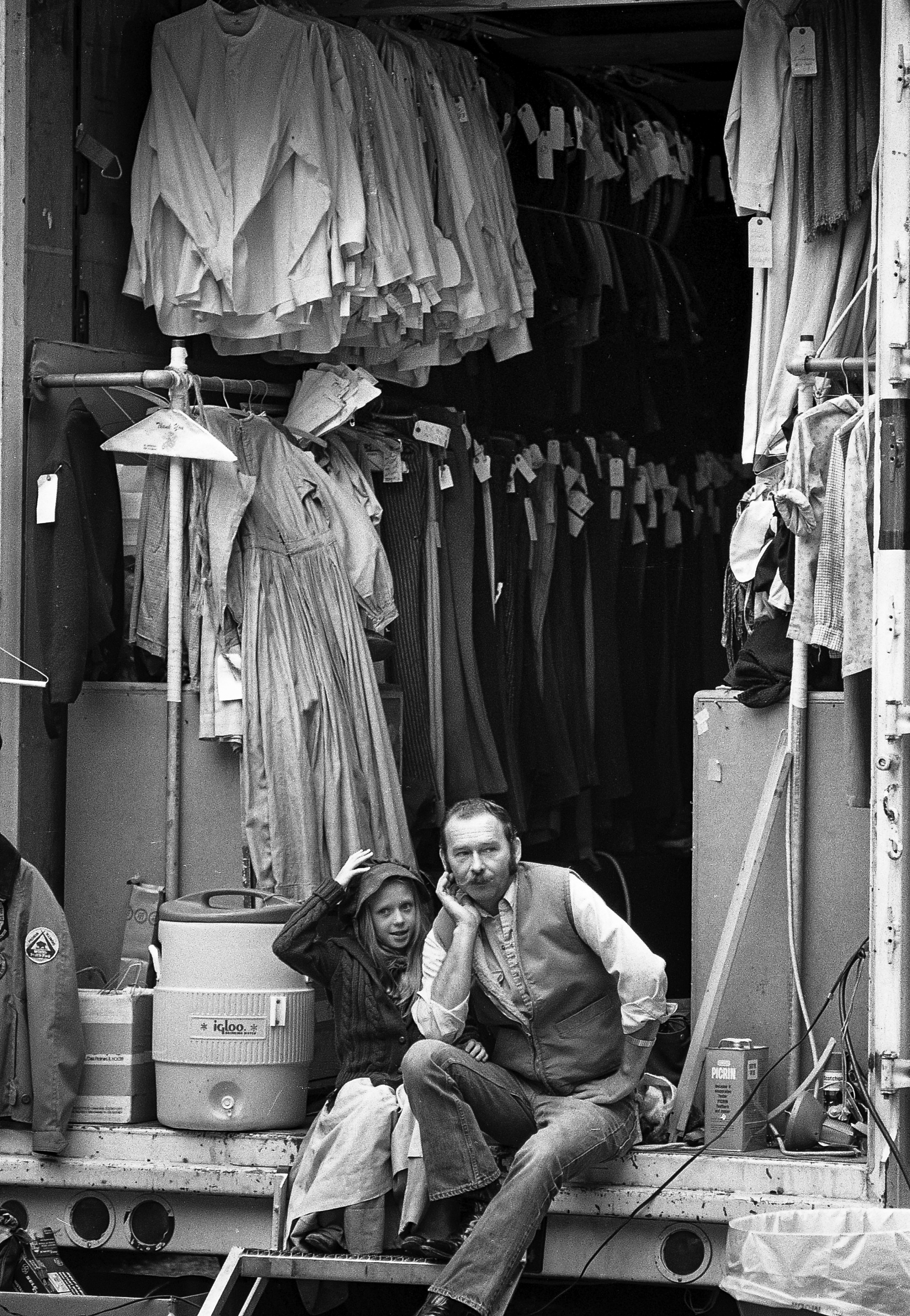 """Joe Caswell and his daughter, Sandy, sit in the wardrobe truck during filming of the television mini series """"The Chisholms"""" at New Salem State Historic Site, October 2, 1978. File/Bill Hagen/The State Journal-Register"""