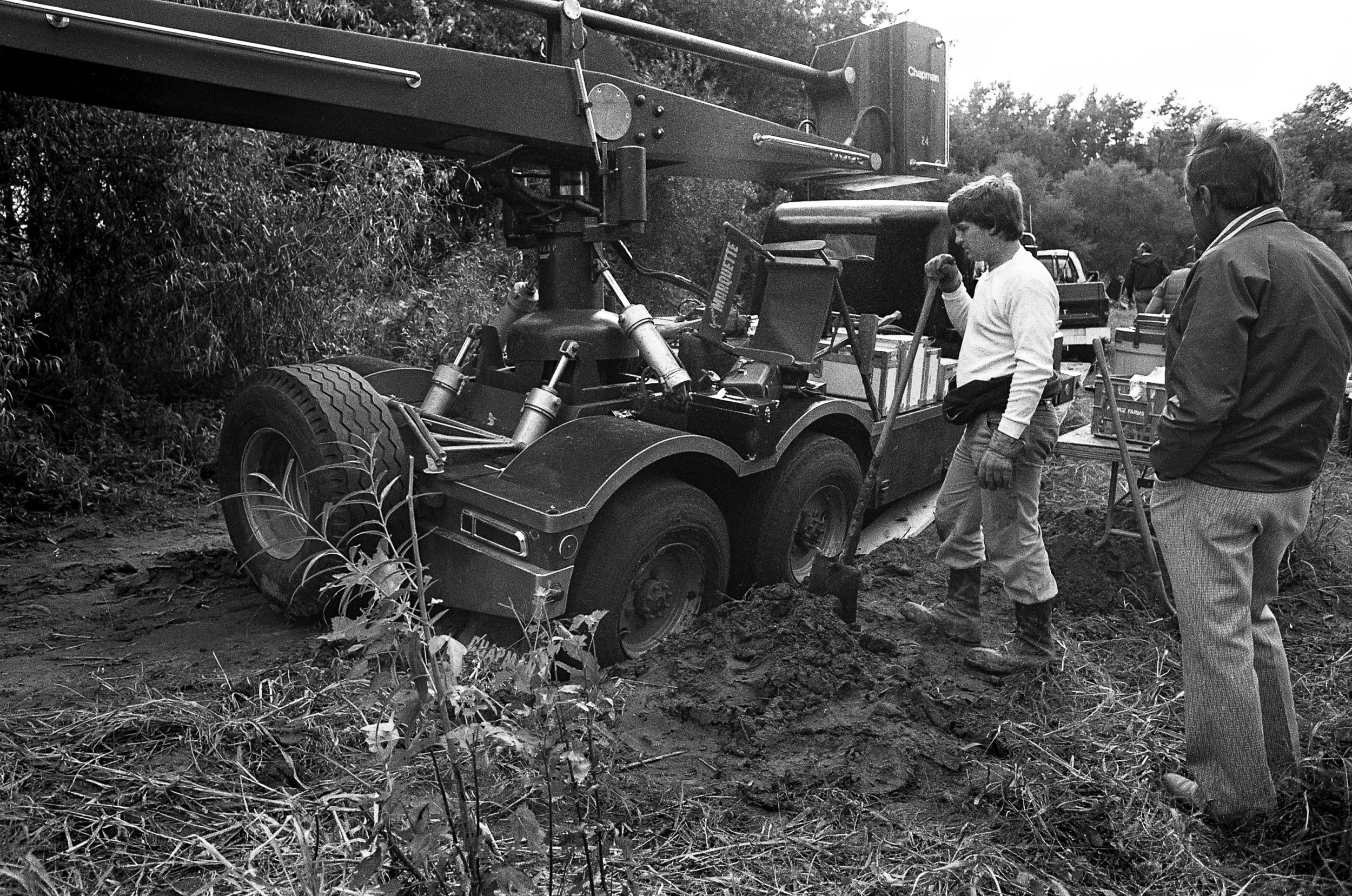 """A camera boom truck is stuck in the mud during filming for television mini series """"The Chisholms"""" at New Salem State Historic Site, October 2, 1978. File/Bill HagenThe State Journal-Register"""