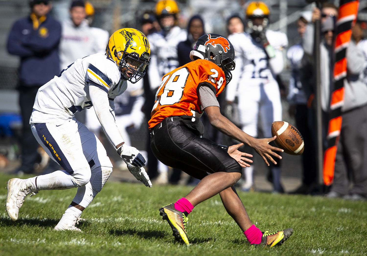 Southeast's Josh Williams chases after a ball that got away from Lanphier's A'Tejon Lee at Memorial Stadium Saturday, Oct. 20, 2018 in Springfield, Ill. Williams recovered the fumble for the Spartans. [Rich Saal/The State Journal-Register]