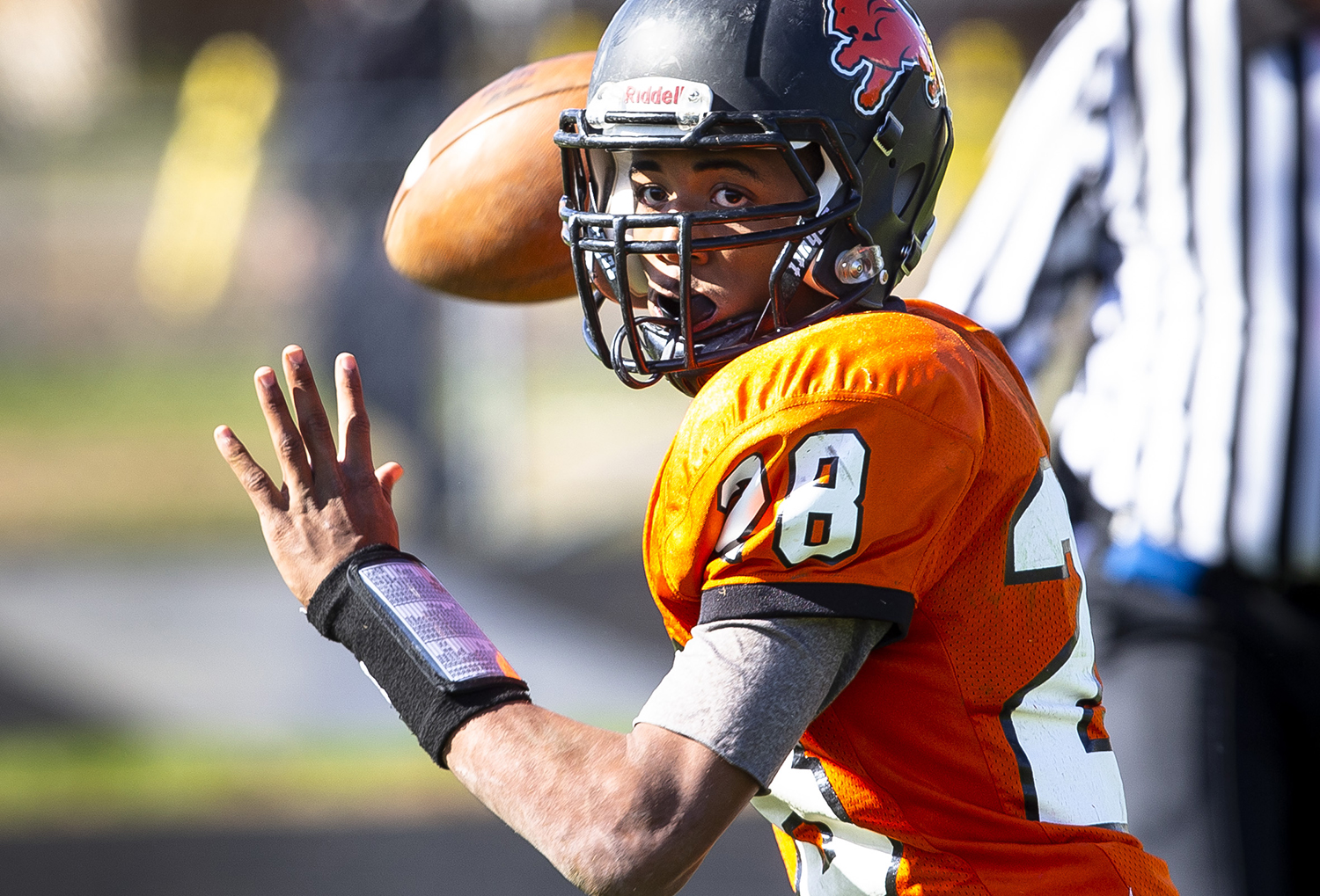 Lanphier quarterback A'Tejon Lee looks for an open receiver at Memorial Stadium Saturday, Oct. 20, 2018  in Springfield, Ill. [Rich Saal/The State Journal-Register]