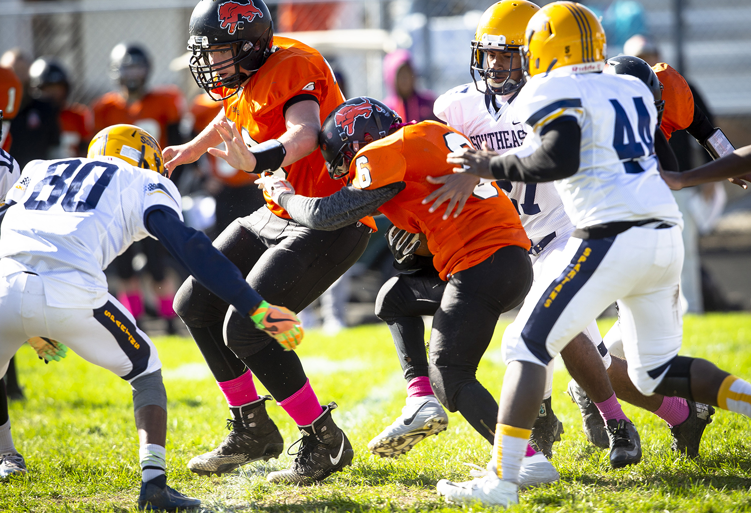 Lanphier's Jacxon Blakey follows his blockers through the Southeast defense at Memorial Stadium Saturday, Oct. 20, 2018 in Springfield, Ill. [Rich Saal/The State Journal-Register]