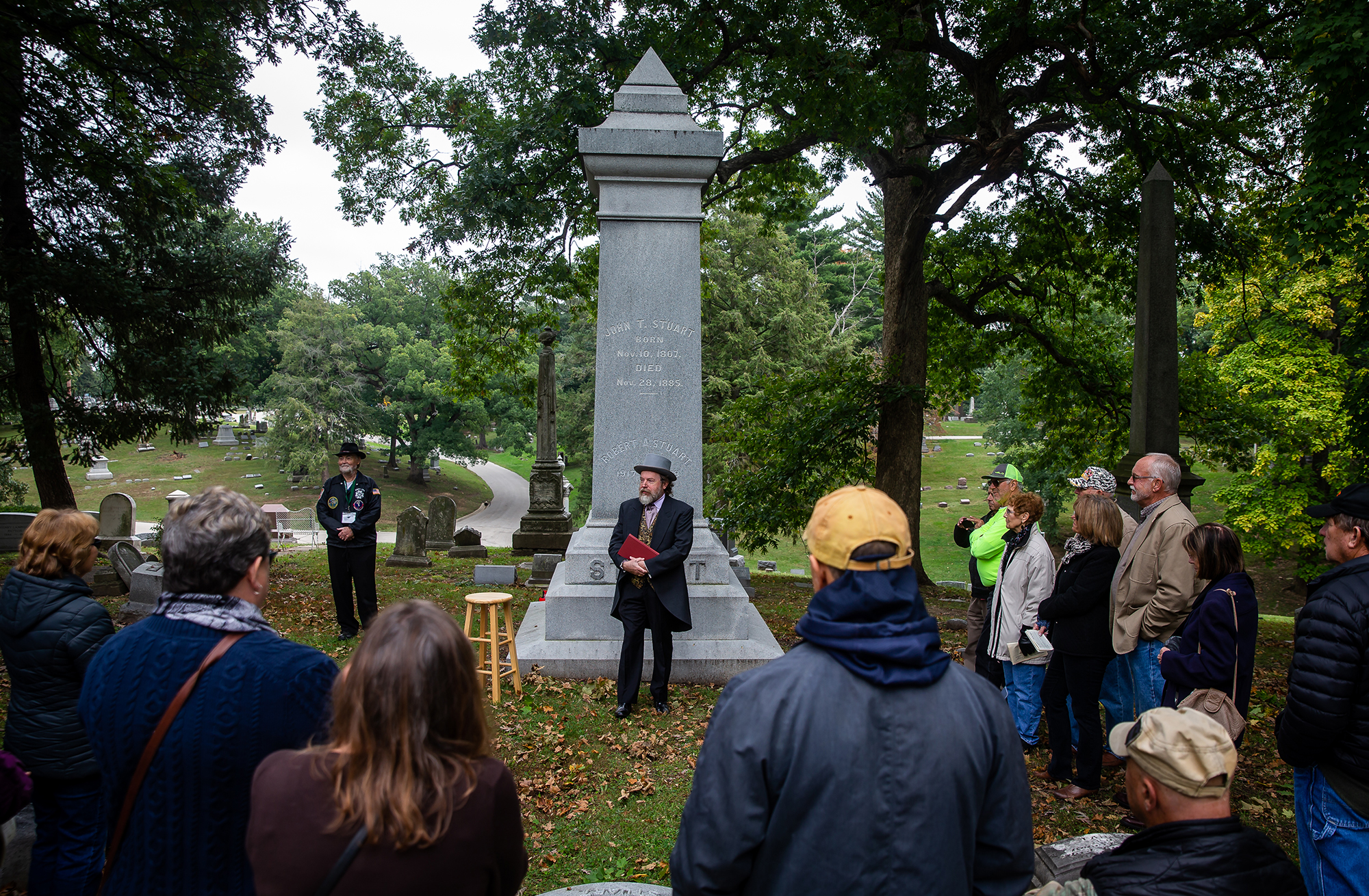 """Dennis Rendleman portrays John Todd Stuart, the cousin of Mary Todd Lincoln and Abraham Lincoln's law partner who came to Springfield in 1828, in front of the Stuart family marker during the Sangamon County Historical Society's """"Echos of Yesteryear: A Walk through Oak Ridge Cemetery"""" at the cemetery, Sunday, Oct. 14, 2018, in Springfield, Ill. This year's walk celebrated the Illinois Bicentennial with actors and actresses dressed in period costumes portraying individuals who had arrived in Springfield near the time of Illinois received statehood.[Justin L. Fowler/The State Journal-Register]"""