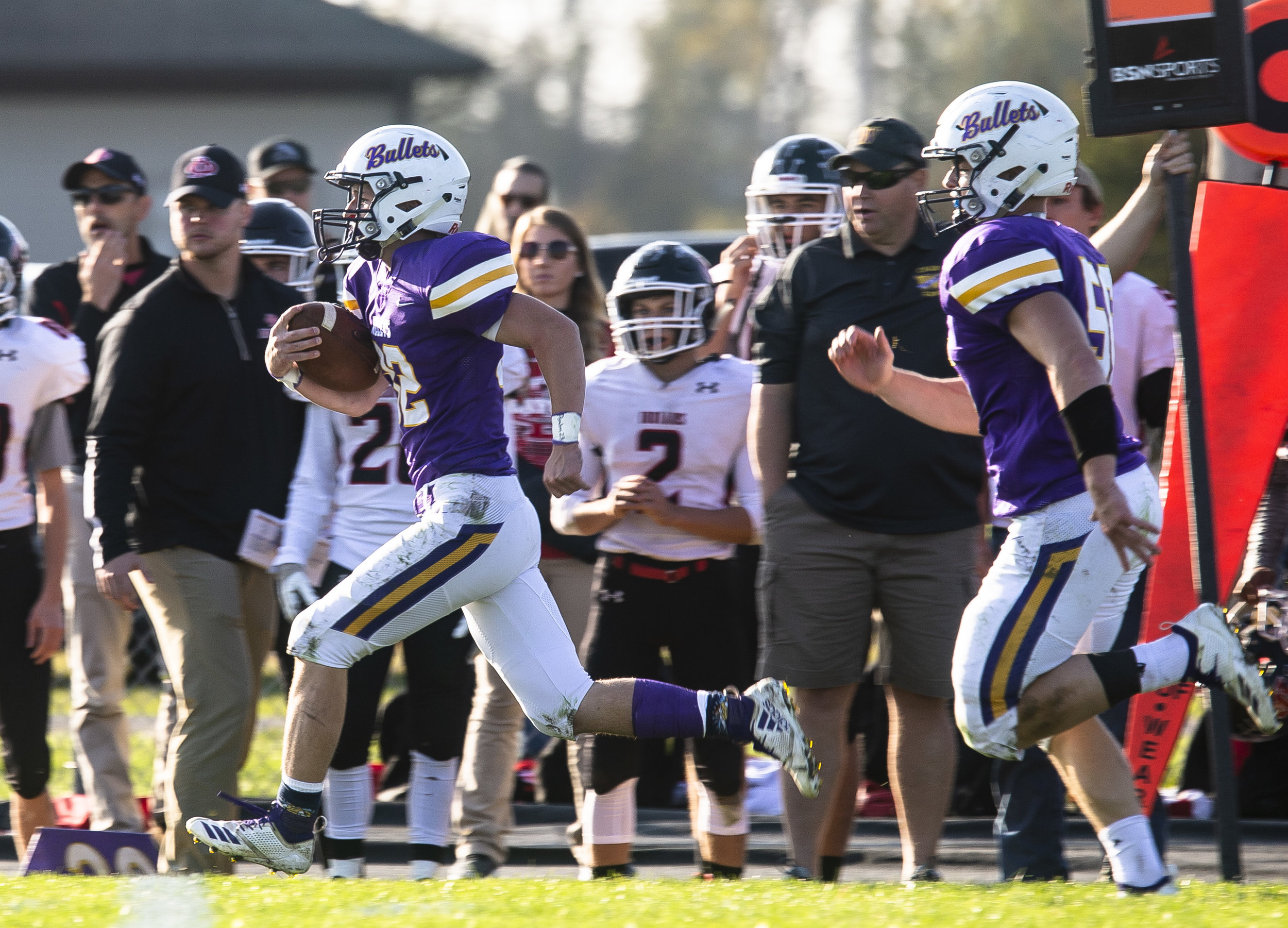 Williamsville's Bill Spaniol skirts the sidelines for yards during the Class 3A playoff game against DuQuoin Saturday, Oct. 27, 2018 at Paul Jenkins Field in Springfield, Ill. [Rich Saal/The State Journal-Register]