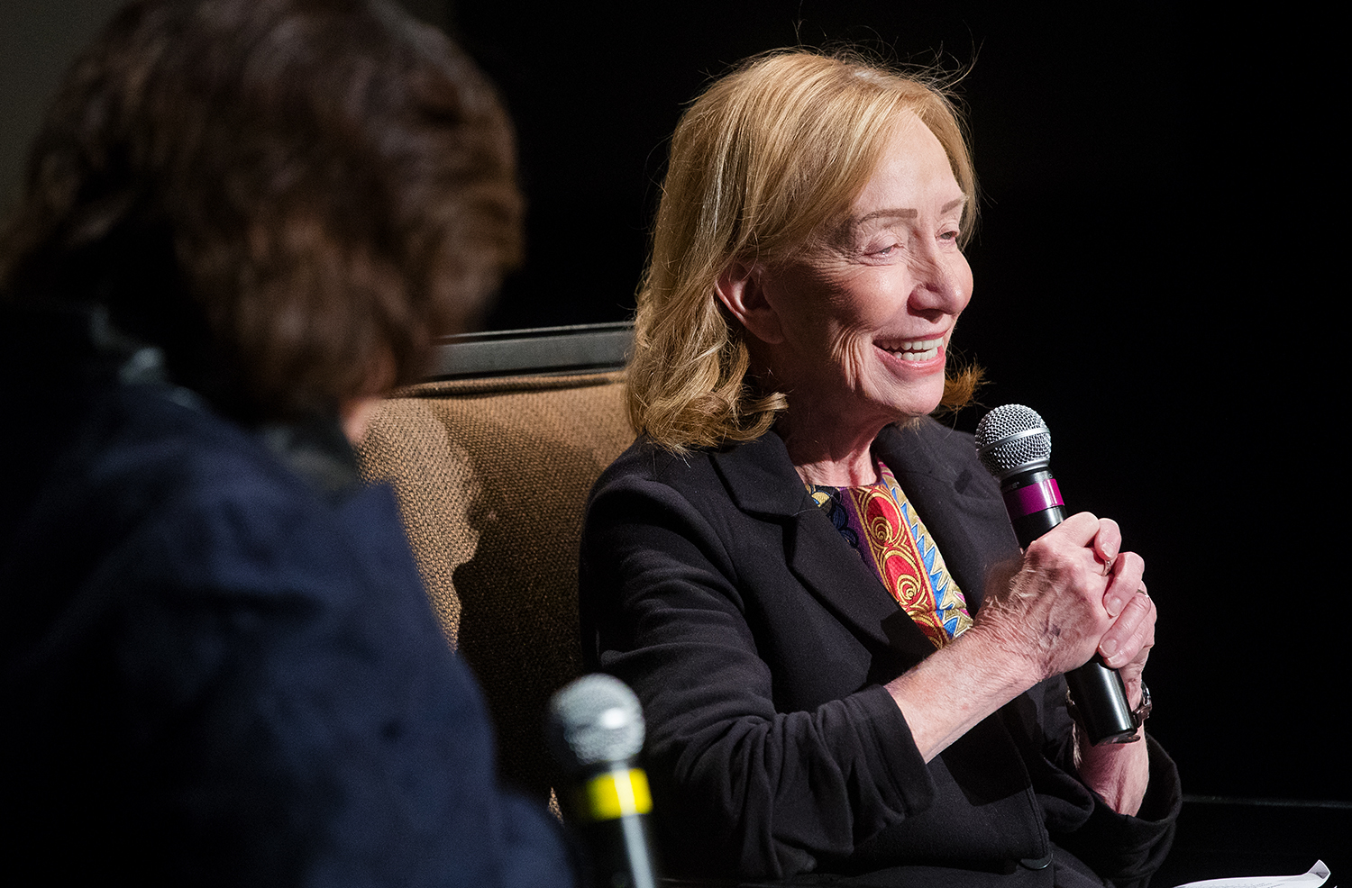 """Doris Kearns Goodwin laughs as she answers questions while seated next to Carla Knorowski, Chief Executive Officer of the Abraham Lincoln Presidential Library Foundation, during an event in the plaza of the Abraham Lincoln Presidential Museum Monday, Oct. 29, 2018. Proceeds from the fundraiser will benefit the campaign to secure a """"permanent home"""" for Lincoln's most personal effects comprising the Barry and Louise Taper Collection that was acquired by the museum in 2007 for $25 million. [Ted Schurter/The State Journal-Register]"""
