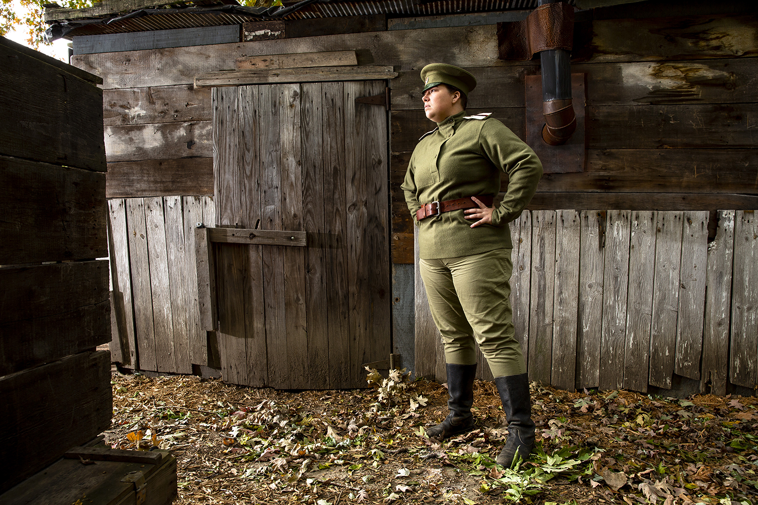 As a re-enactor and volunteer at the Illinois Military Museum, Lizzie Roehrs portrays a member of the First Russian Women's Battalion of Death, which fought during World War I. Roehrs was  photographed Thursday, Oct. 25, 2018 at the Illinois Military Museum at Camp Lincoln in Springfield, Ill. [Rich Saal/The State Journal-Register]
