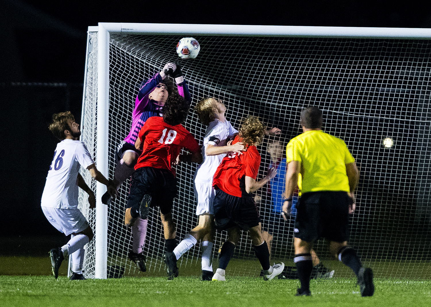 Springfield's Collin Taylor blocks a shot on goal during the IHSA Class 2A Glenwood Soccer Supersectional at Glenwood High School Tuesday, Oct. 30, 2018. [Ted Schurter/The State Journal-Register]