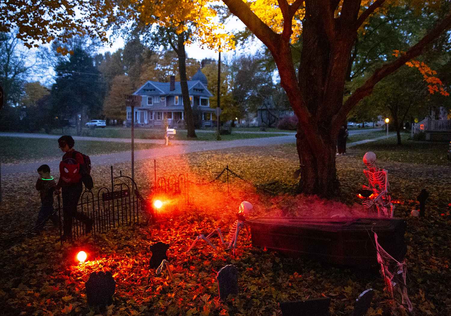A haunted graveyard in the yard of Ryan and Kara McCaffrey greets trick or treaters Wednesday, Oct. 31, 2018 in Williamsville, Ill. [Rich Saal/The State Journal-Register]