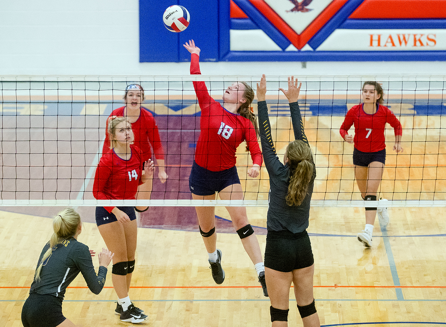 Pleasant Plains' Jade Garrett spikes the ball against  Maroa-Forsyth during the IHSA Class 2A Riverton Sectional title game at Riverton High School Wednesday, October 31, 2018. [Ted Schurter/The State Journal-Register]