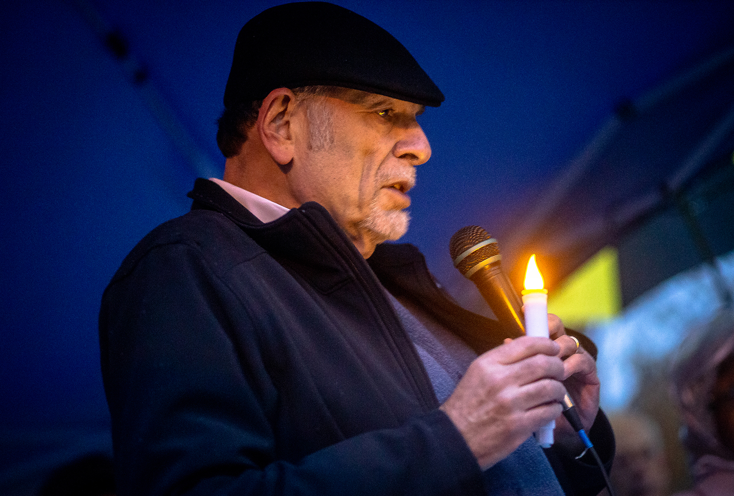 Rabbi Barry Marks delivers his message to a crowd of around 150 as leaders from various faiths across Springfield gather to mourn the loss of life at the Tree of Life Synagogue in Pittsburgh, Pa., during a vigil organized by the Jewish Federation of Springfield and the Jewish Community Relations Council on the steps of the Illinois State Capitol, Thursday, Nov. 1, 2018, in Springfield, Ill. [Justin L. Fowler/The State Journal-Register]