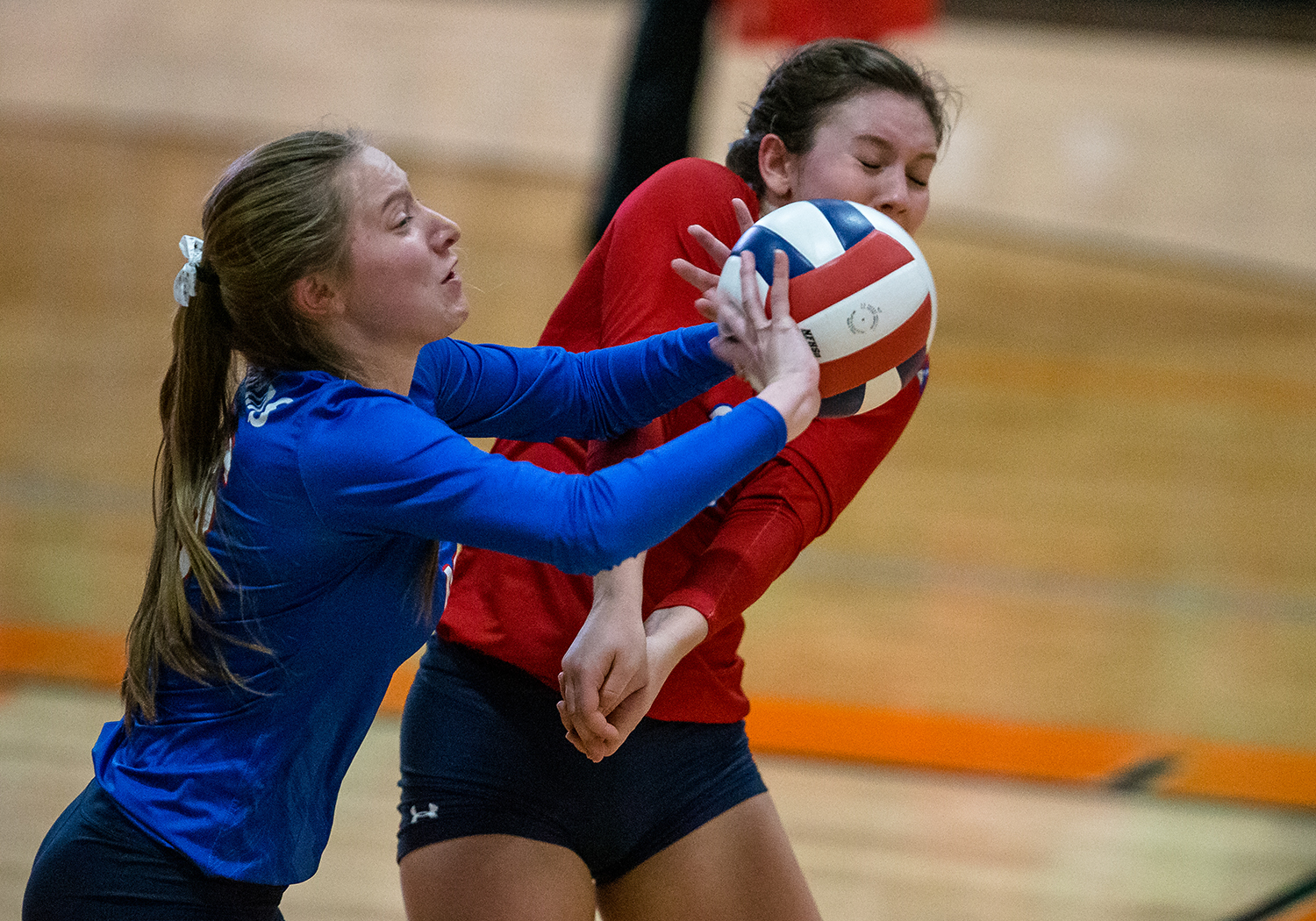 Pleasant Plains' Macy Kanllakan (16) nearly collides with Pleasant Plains' MacKenzie Houser (3) as she returns a serve against Eureka in the Class 2A Beardstown Supersectional at Beardstown High School, Friday, Nov. 2, 2018, in Beardstown, Ill. [Justin L. Fowler/The State Journal-Register]