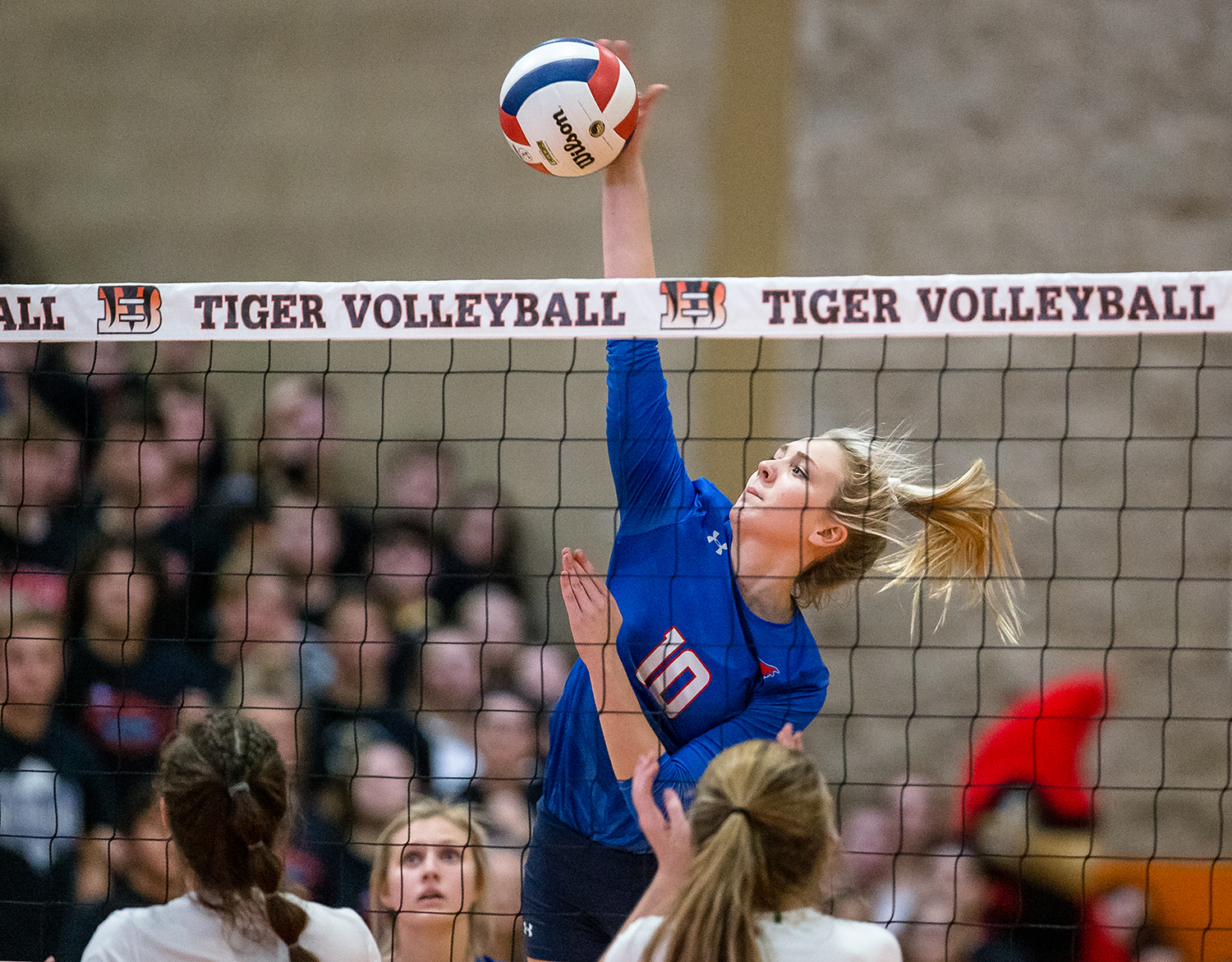 Pleasant Plains' Allie Edwards (10) fires a kill against Eureka in the Class 2A Beardstown Supersectional at Beardstown High School, Friday, Nov. 2, 2018, in Beardstown, Ill. [Justin L. Fowler/The State Journal-Register]