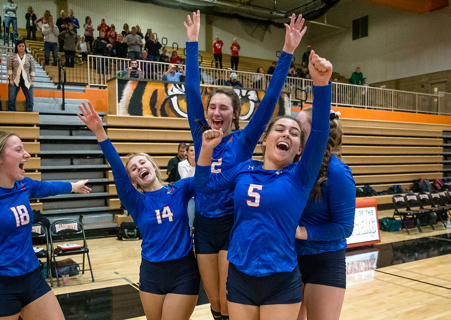 Pleasant Plains' Chloe Burt (14), Maddie Reiser (12) and Emma Grieser (5) join in with the Cardinals as they celebrate defeating Eureka in the Class 2A Beardstown Supersectional at Beardstown High School, Friday, Nov. 2, 2018, in Beardstown, Ill. [Justin L. Fowler/The State Journal-Register]