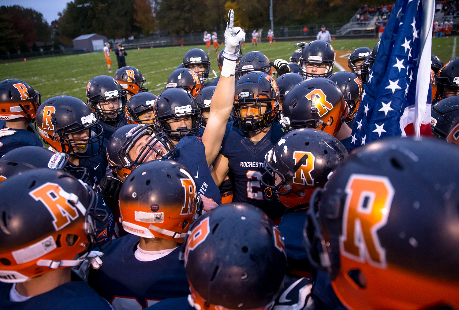 Rochester's Cade Eddington (6) gets the Rockets fired up prior to kickoff against Pontiac in the second round of the Class 4A playoffs at Rochester High School, Saturday, Nov. 3, 2018, in Rochester, Ill. [Justin L. Fowler/The State Journal-Register]
