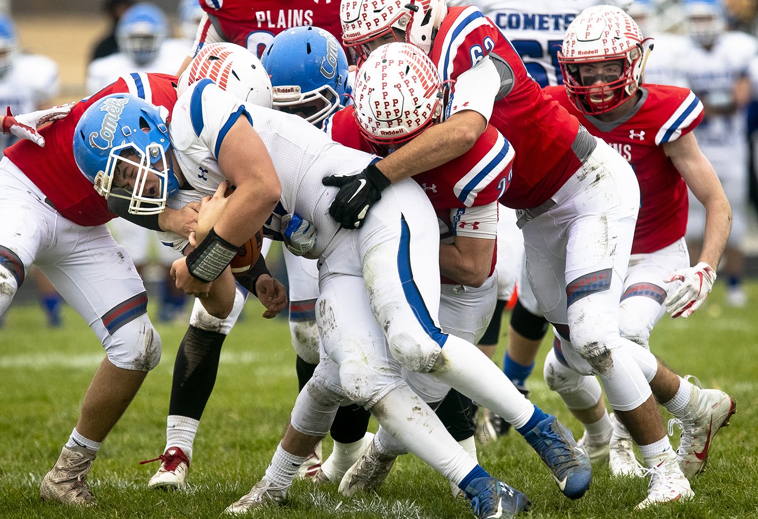 Pleasant Plains' defense brings down Greenville's Jack Woods during the Class 2A playoff game Saturday, Nov. 3, 2018 at Pleasant Plains High School in Pleasant Plains, Ill. [Rich Saal/The State Journal-Register]