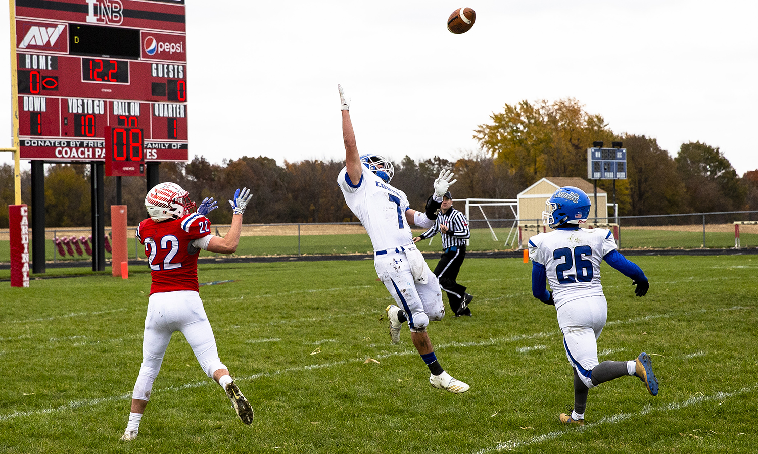 Greenville's Mason Johnson tipped a pass intended for Pleasant Plains' Dakota Sunley during the Class 2A playoff game Saturday, Nov. 3, 2018 at Pleasant Plains High School in Pleasant Plains, Ill. [Rich Saal/The State Journal-Register]