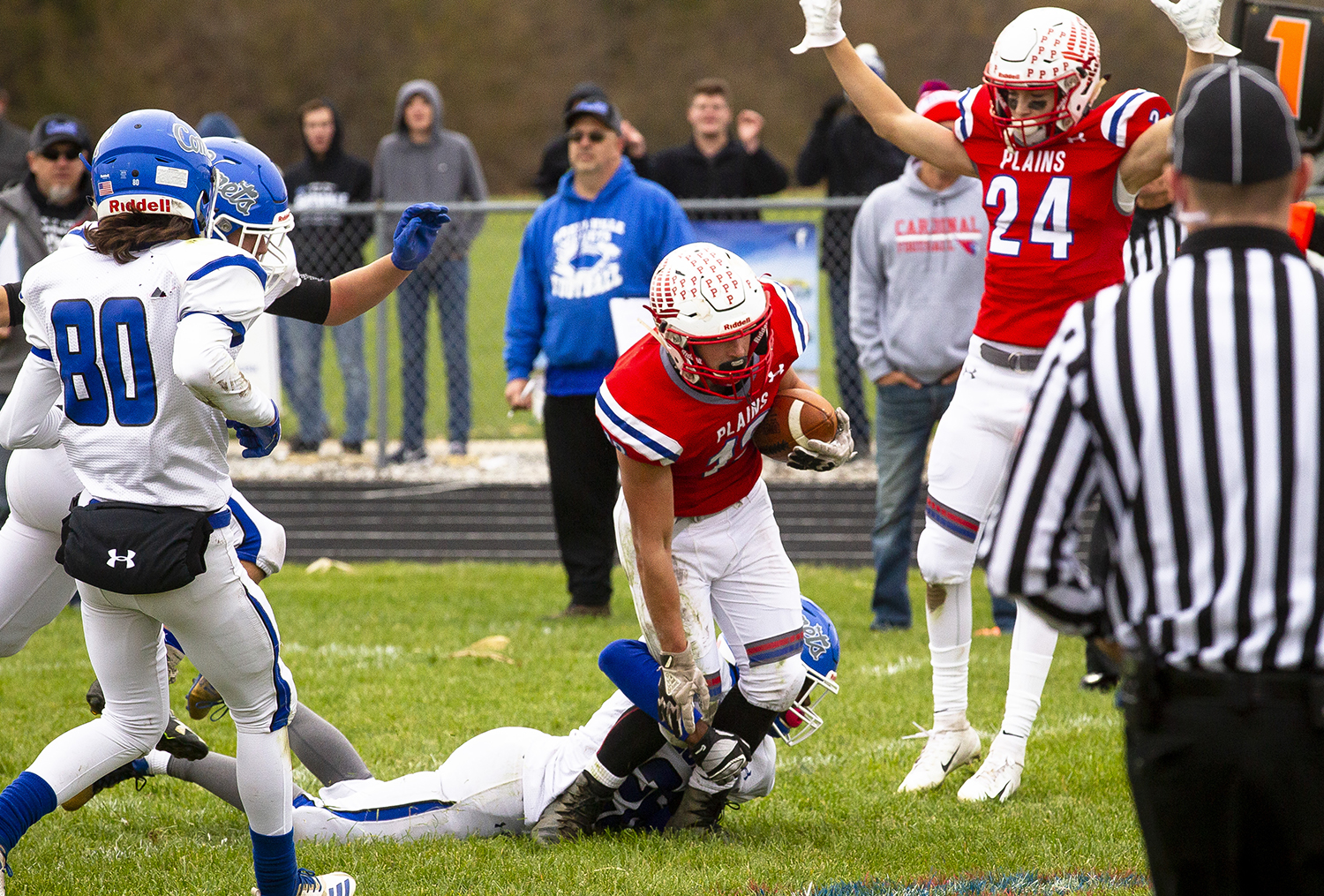 Pleasant Plains' Lucas Western steps into the end zone to score after recovering a Greenville fumble, giving the Cardinals' a 6-0 lead in the second quarter of the Class 2A playoff game Saturday, Nov. 3, 2018 at Pleasant Plains High School in Pleasant Plains, Ill. [Rich Saal/The State Journal-Register]