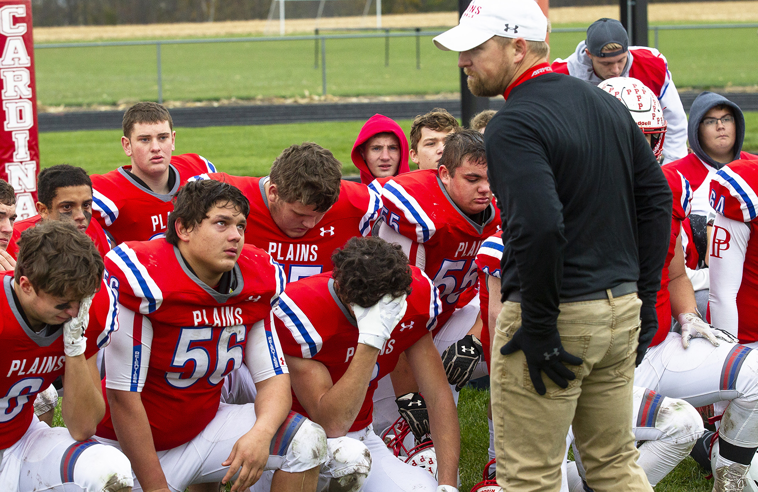 Pleasant Plains' Head Coach John Hambelton talks to the Cardinals after their loss to Greenville in the Class 2A playoff game Saturday, Nov. 3, 2018 at Pleasant Plains High School in Pleasant Plains, Ill. [Rich Saal/The State Journal-Register]