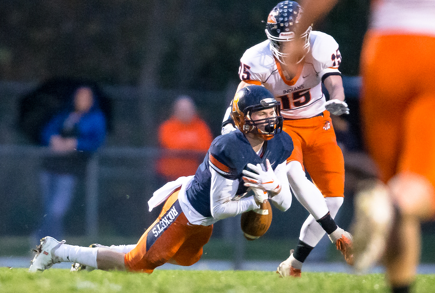 Rochester's Hayden Phillips (3) nearly intercepts a pass intended for Pontiac's Colton Clesson (15) in the first half in the second round of the Class 4A playoffs at Rochester High School, Saturday, Nov. 3, 2018, in Rochester, Ill. [Justin L. Fowler/The State Journal-Register]