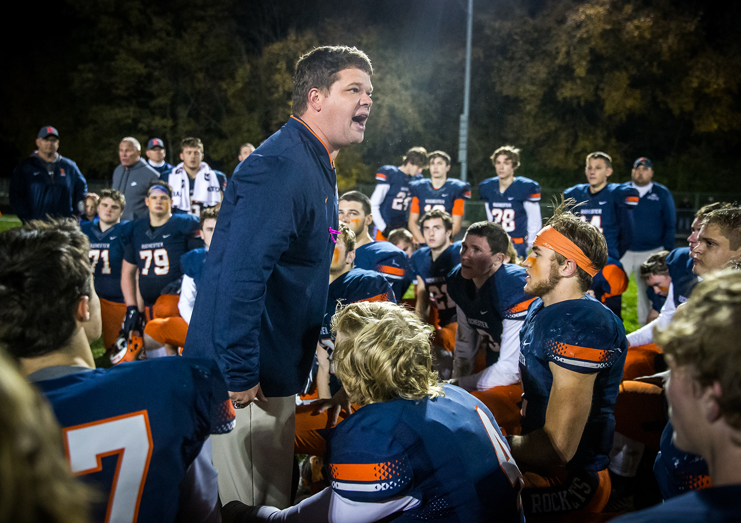 Rochester football head coach Derek Leonard gets his team fired up after the defeated Pontiac in the second round of the Class 4A playoffs at Rochester High School, Saturday, Nov. 3, 2018, in Rochester, Ill. [Justin L. Fowler/The State Journal-Register]