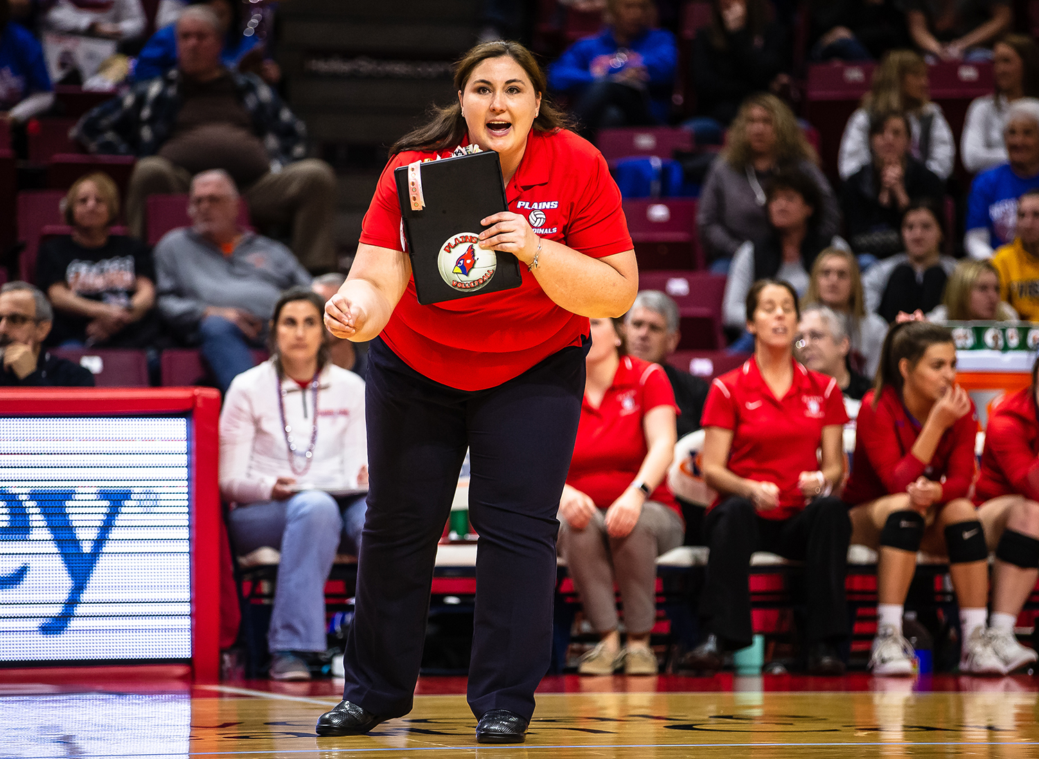 Pleasant Plains volleyball head coach Denise Dufour calls out instructions as the Cardinals take on Champaign St. Thomas More on match point in the third set during the Class 2A IHSA Volleyball State Final Tournament semifinals at Redbird Arena, Friday, Nov. 9, 2018, in Normal, Ill. [Justin L. Fowler/The State Journal-Register]