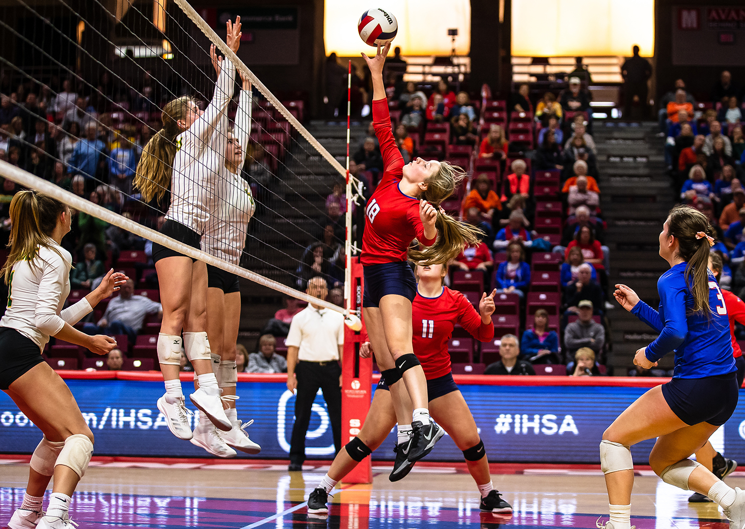 Pleasant Plains' Anna Kanllakan (18) puts the light touch on the attack to score a point for the Cardinals against Champaign St. Thomas More during the Class 2A IHSA Volleyball State Final Tournament semifinals at Redbird Arena, Friday, Nov. 9, 2018, in Normal, Ill. [Justin L. Fowler/The State Journal-Register]
