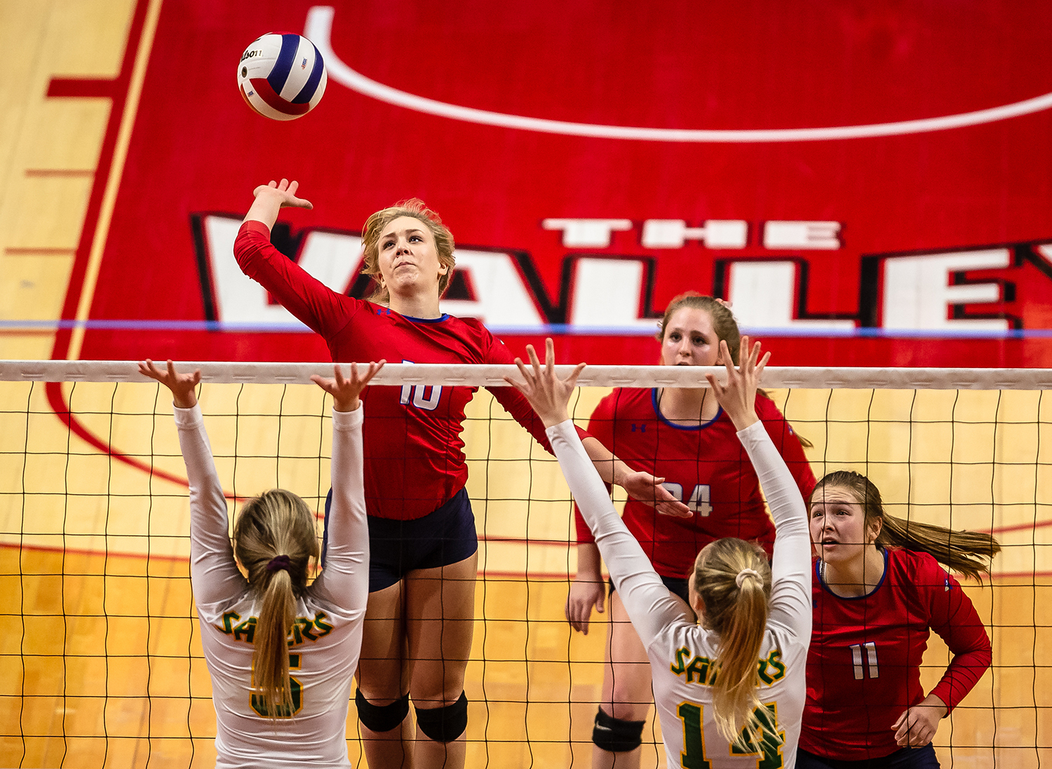 Pleasant Plains' Allie Edwards (10) rises up for an attack against Champaign St. Thomas More during the Class 2A IHSA Volleyball State Final Tournament semifinals at Redbird Arena, Friday, Nov. 9, 2018, in Normal, Ill. [Justin L. Fowler/The State Journal-Register]