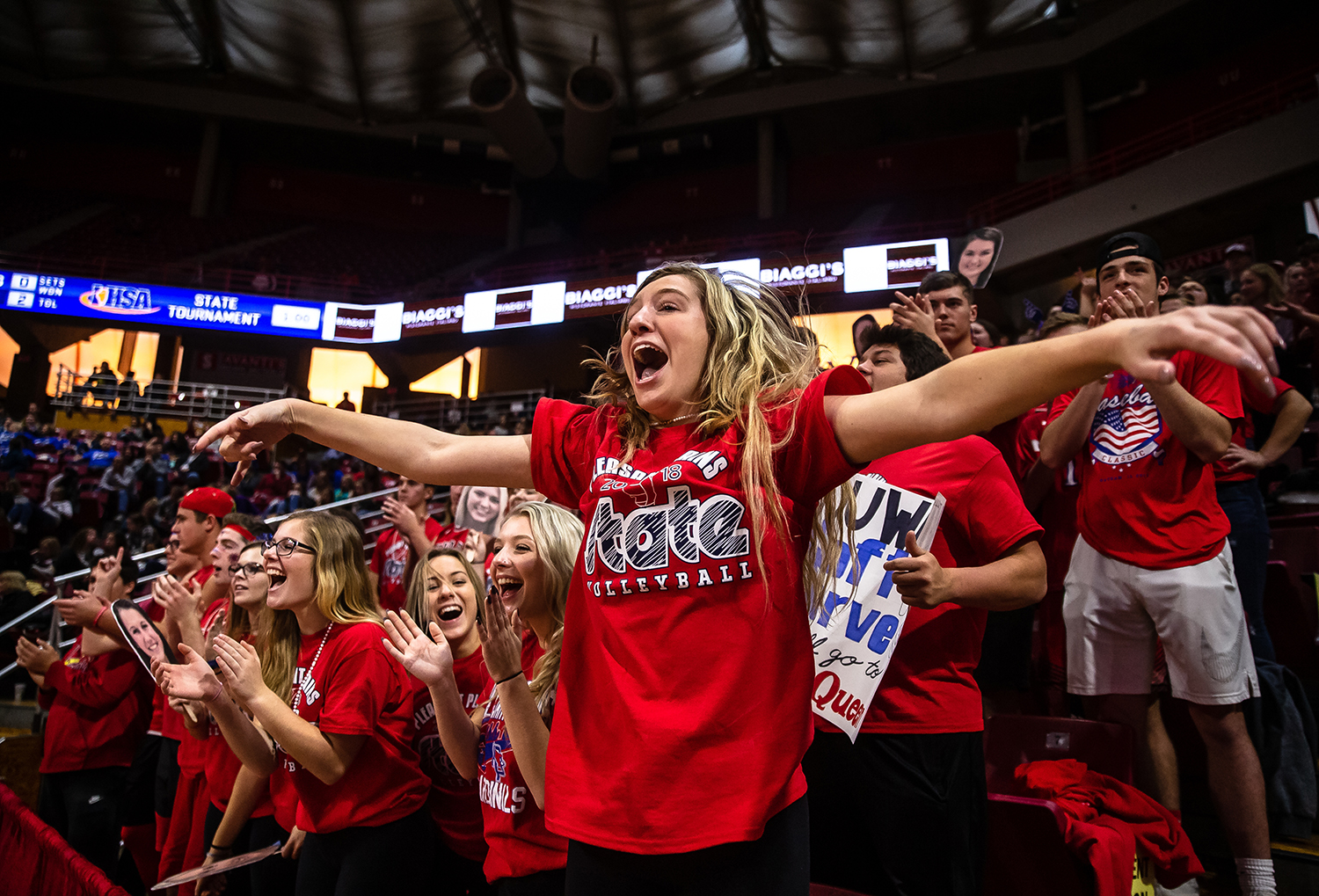 Pleasant Plains senior Abbie Boesdorfer cheers on the Cardinals as they take on Champaign St. Thomas More during the Class 2A IHSA Volleyball State Final Tournament semifinals at Redbird Arena, Friday, Nov. 9, 2018, in Normal, Ill. [Justin L. Fowler/The State Journal-Register]