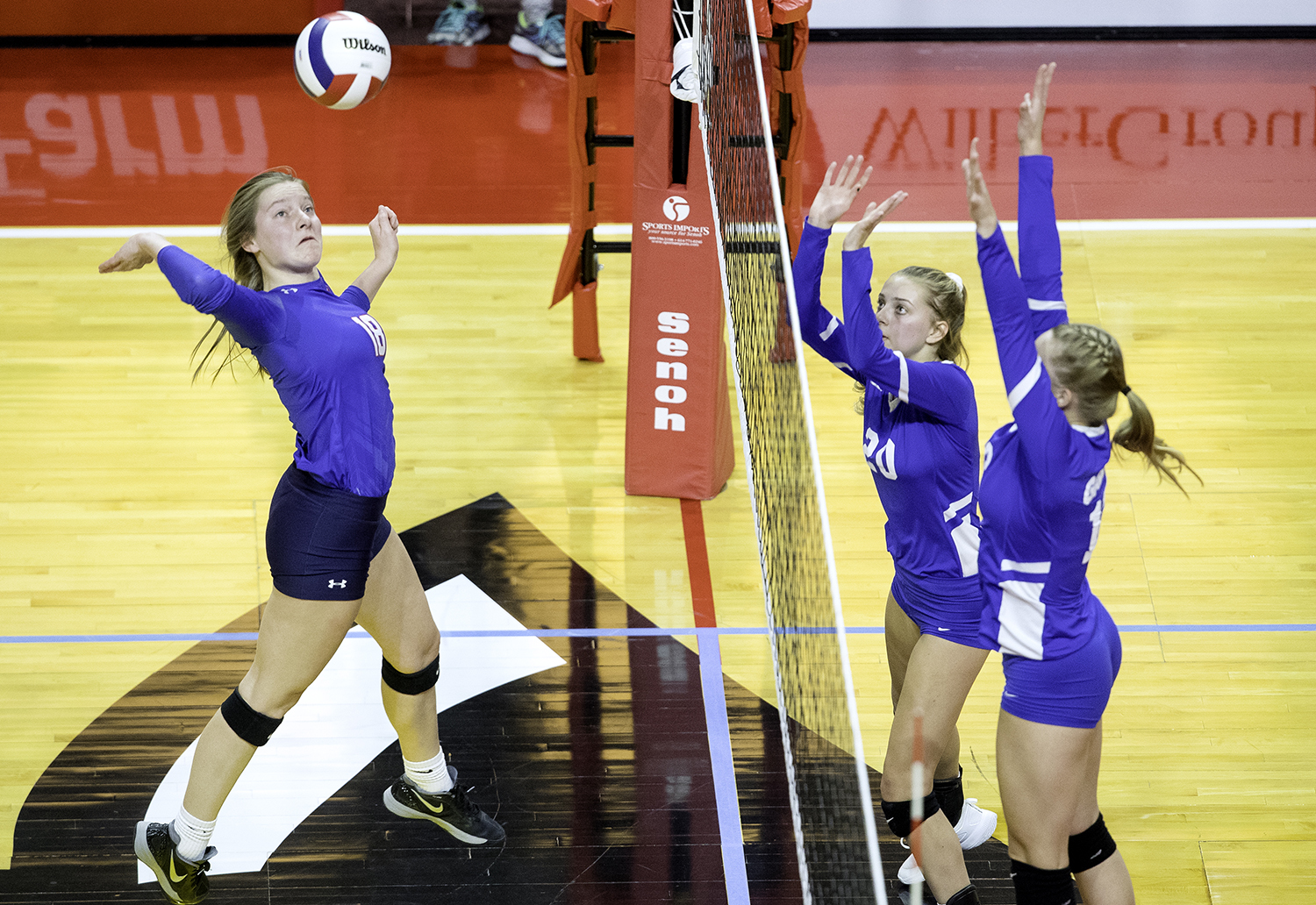 Pleasant Plains' Anna Kanllakan knotches a kill against Galena during the IHSA Class 2A Volleyball championship at Redbird Arena in Normal Saturday, Nov. 10, 2018. [Ted Schurter/The State Journal-Register]