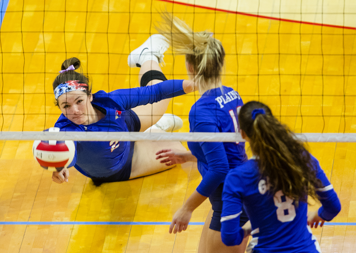 Pleasant Plains' Jade Garrett makes a diving dig against Galena during the IHSA Class 2A Volleyball championship at Redbird Arena in Normal Saturday, Nov. 10, 2018. [Ted Schurter/The State Journal-Register]