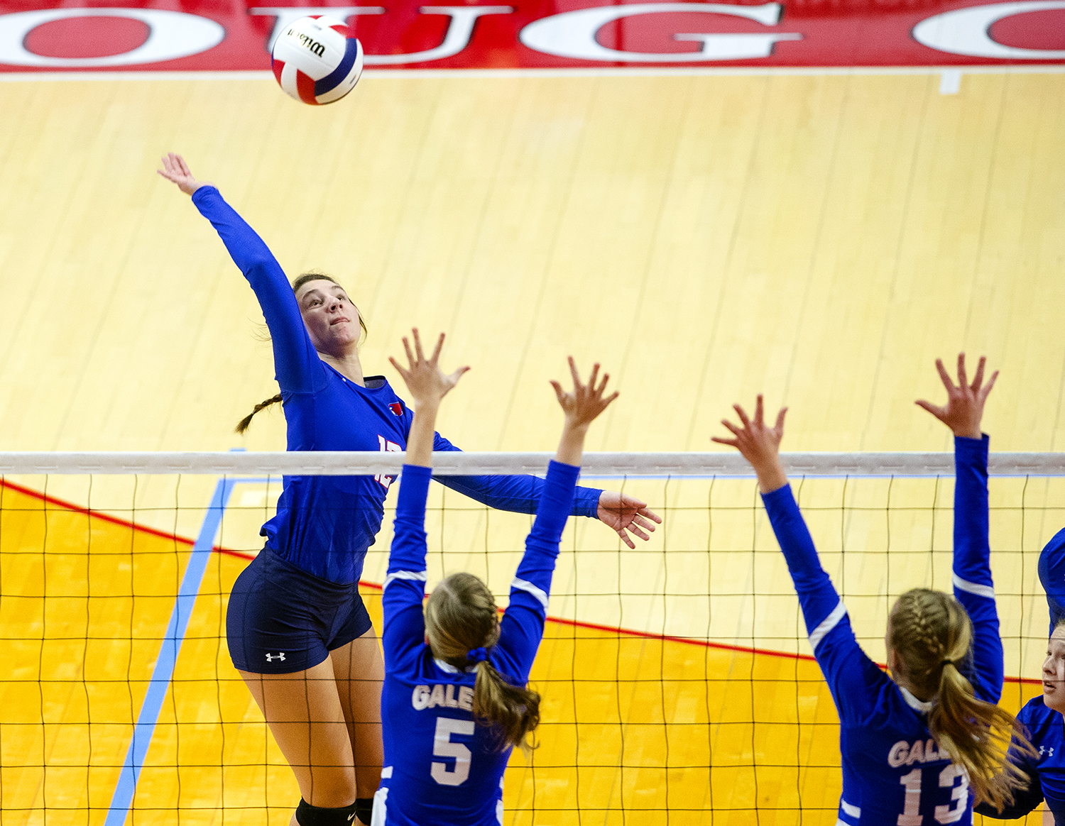 Pleasant Plains' Maddie Reiser spikes the ball against Galena during the IHSA Class 2A Volleyball championship at Redbird Arena in Normal Saturday, Nov. 10, 2018. [Ted Schurter/The State Journal-Register]