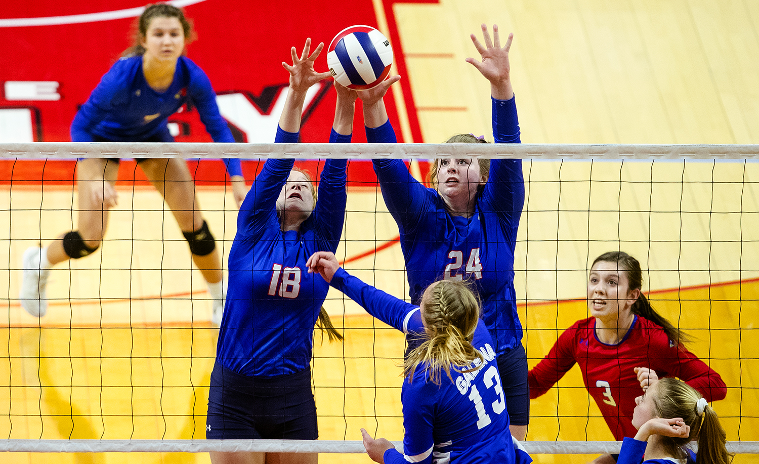 Pleasant Plains' Anna Kanllakan, left, and McKenzie Smith block an attempted Galena spike during the IHSA Class 2A Volleyball championship at Redbird Arena in Normal Saturday, Nov. 10, 2018. [Ted Schurter/The State Journal-Register]