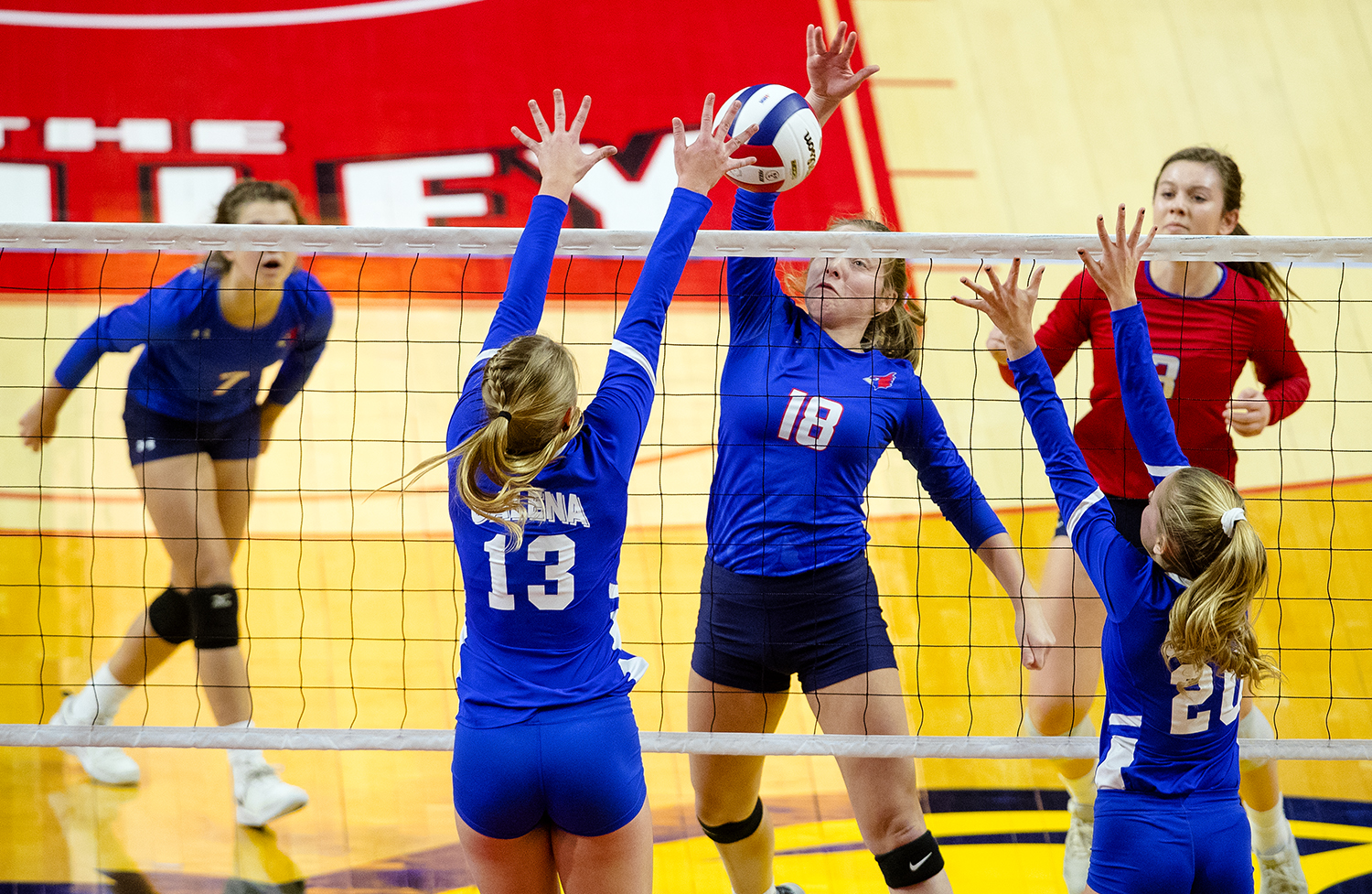 Pleasant Plains' Anna Kanllakan spikes the ball against Galena during the IHSA Class 2A Volleyball championship at Redbird Arena in Normal Saturday, Nov. 10, 2018. [Ted Schurter/The State Journal-Register]