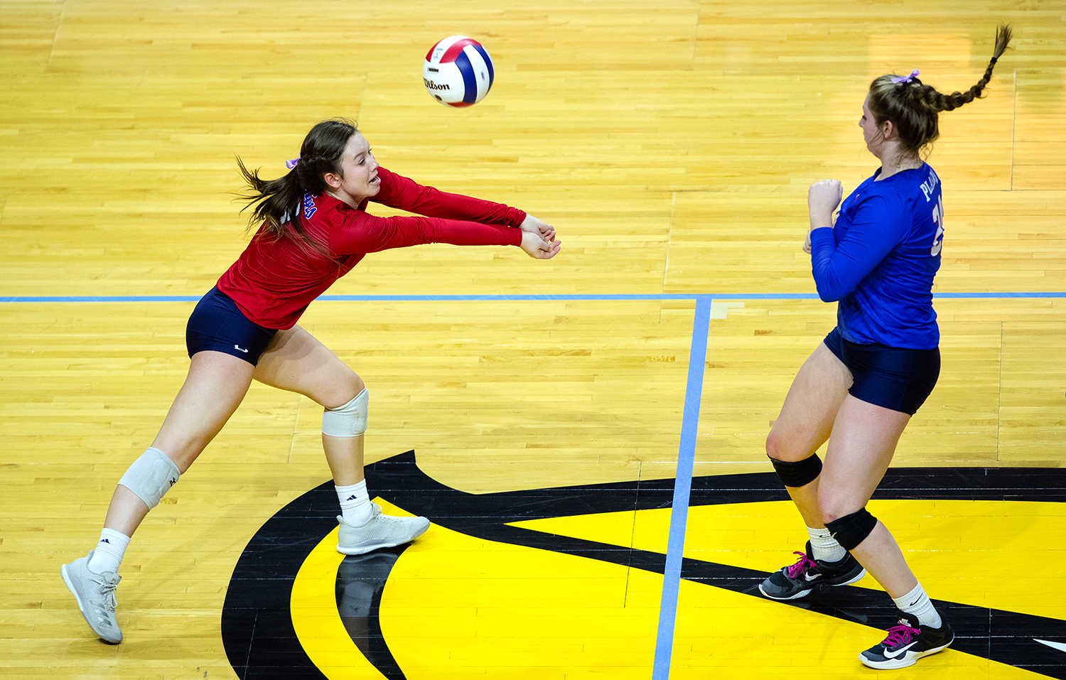 Pleasant Plains' MacKenzie Houser returns the ball to Galena during the IHSA Class 2A Volleyball championship at Redbird Arena in Normal Saturday, Nov. 10, 2018. [Ted Schurter/The State Journal-Register]
