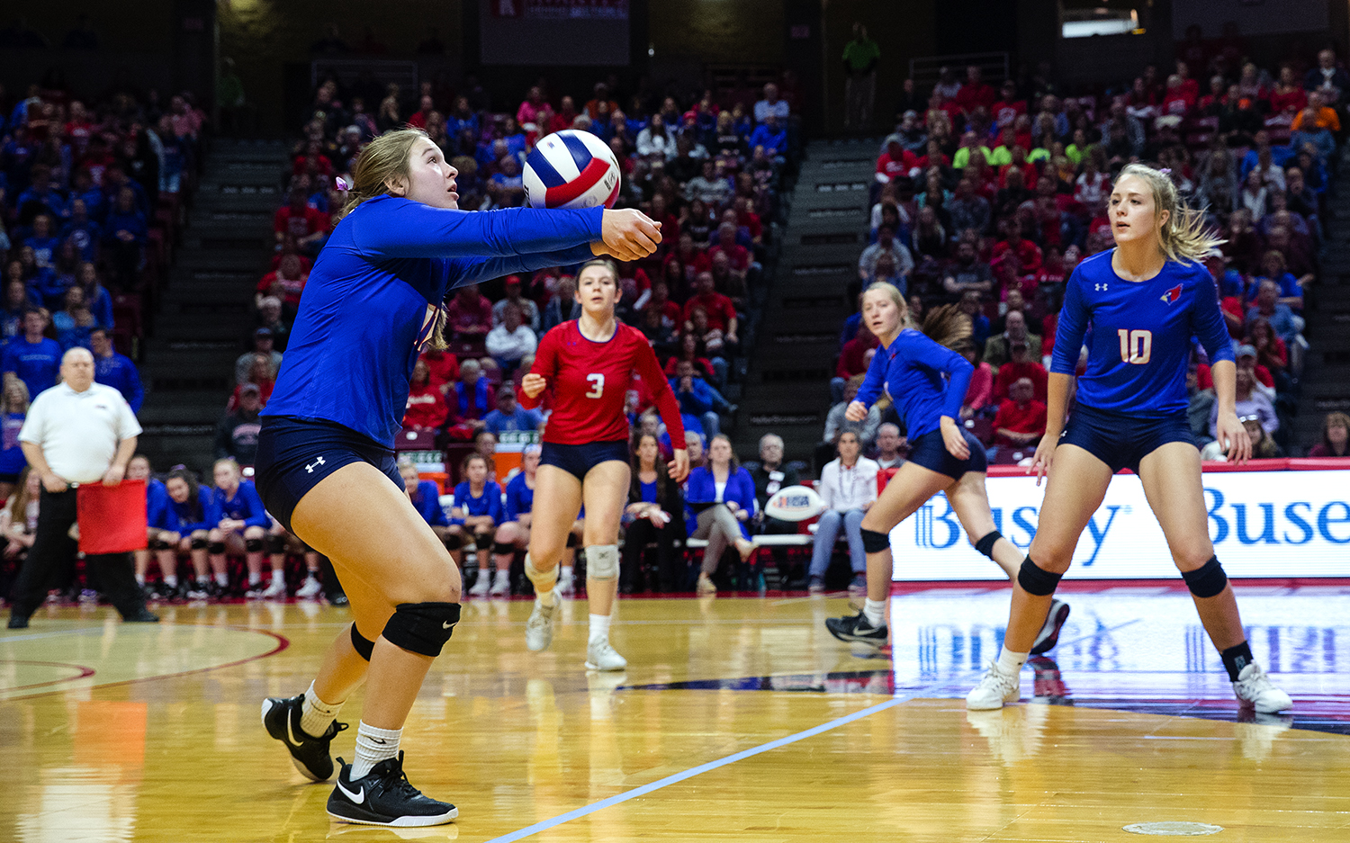 Pleasant Plains' Emily Long passes the ball during the IHSA Class 2A Volleyball championship at Redbird Arena in Normal Saturday, Nov. 10, 2018. [Ted Schurter/The State Journal-Register]