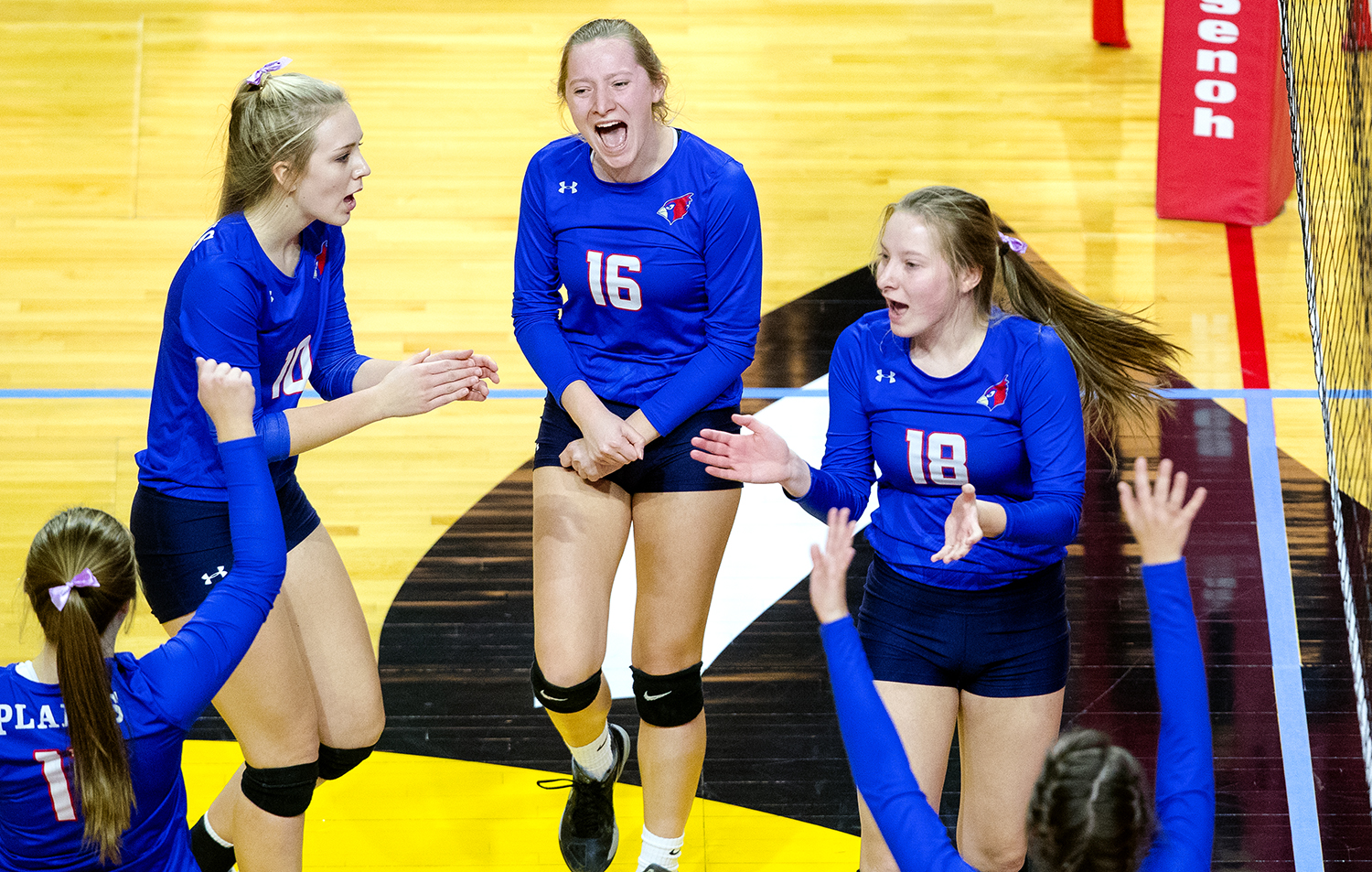 The Cardinals celebrate a point against Galena during the IHSA Class 2A Volleyball championship at Redbird Arena in Normal Saturday, Nov. 10, 2018. [Ted Schurter/The State Journal-Register]