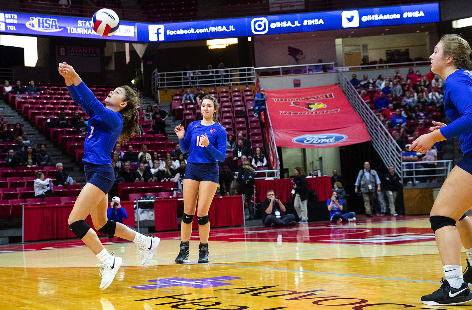 Pleasant Plains' Ali Fraase passes the ball against Galena during the IHSA Class 2A Volleyball championship at Redbird Arena in Normal Saturday, Nov. 10, 2018. [Ted Schurter/The State Journal-Register]