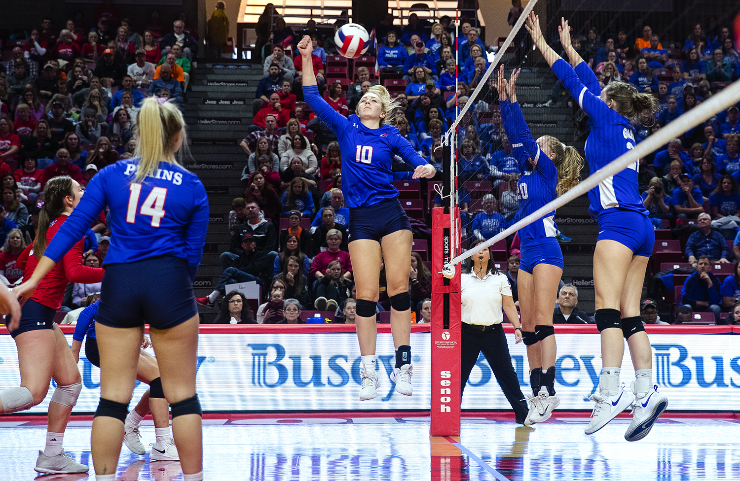 Pleasant Plains' Allie Edwards returns the ball against Galena during the IHSA Class 2A Volleyball championship at Redbird Arena in Normal Saturday, Nov. 10, 2018. [Ted Schurter/The State Journal-Register]