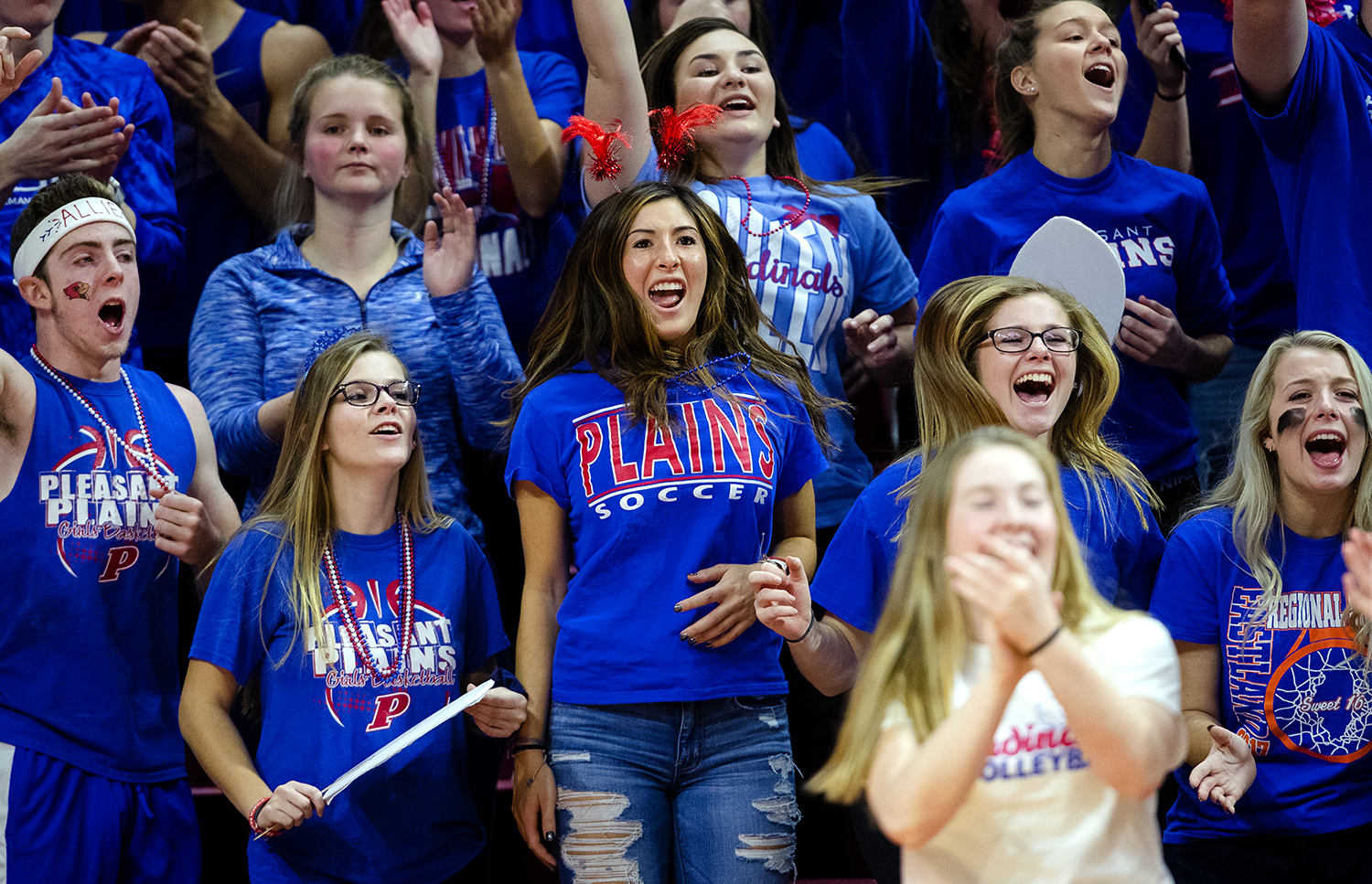 Pleasant Plains fans celebrate a point against Galena during the IHSA Class 2A Volleyball championship at Redbird Arena in Normal Saturday, Nov. 10, 2018. [Ted Schurter/The State Journal-Register]