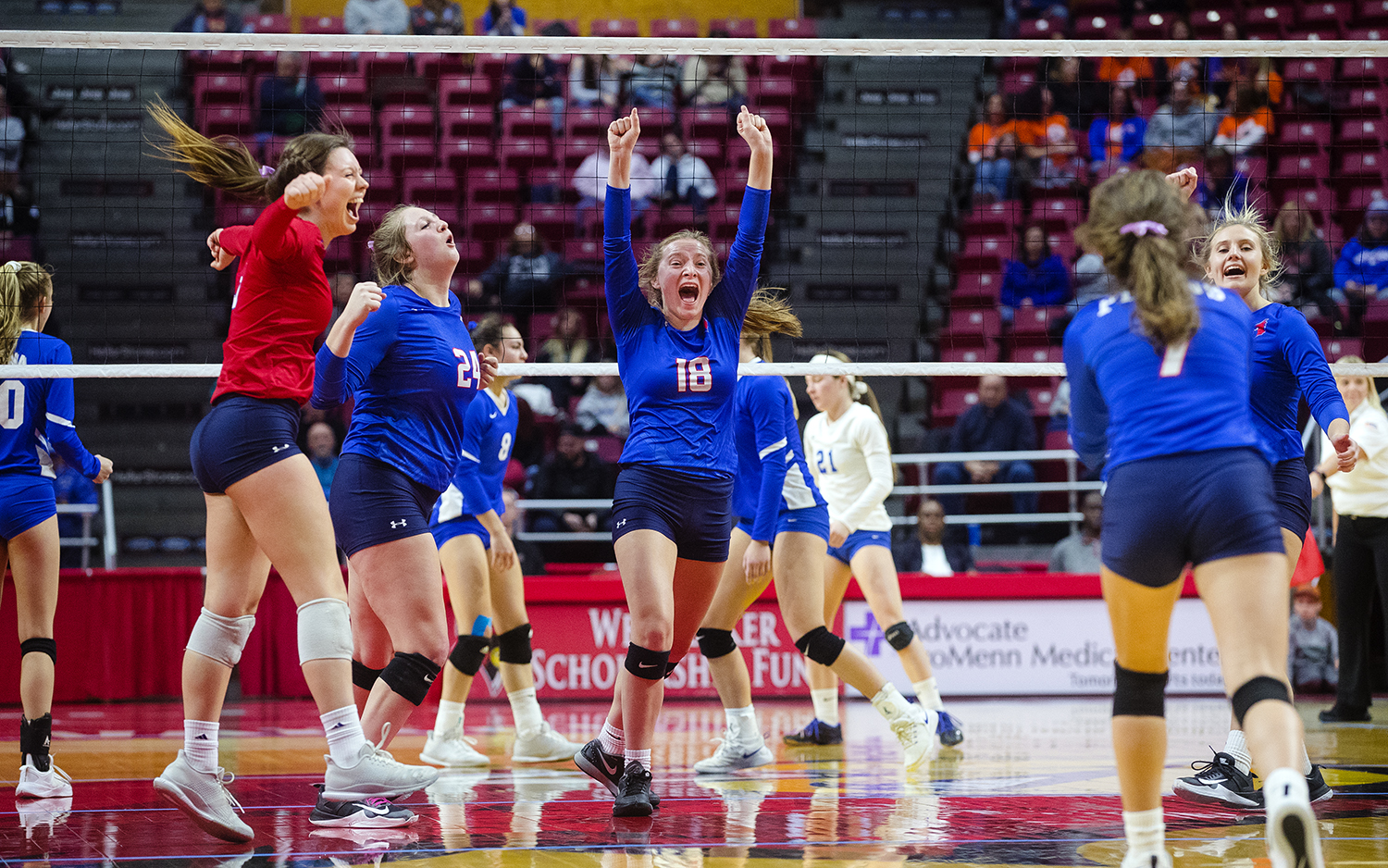 Pleasant Plains' Anna Kanllakan and the Cardinals celebrate a point as they close in on a win against Galena during the IHSA Class 2A Volleyball championship at Redbird Arena in Normal Saturday, Nov. 10, 2018. [Ted Schurter/The State Journal-Register]