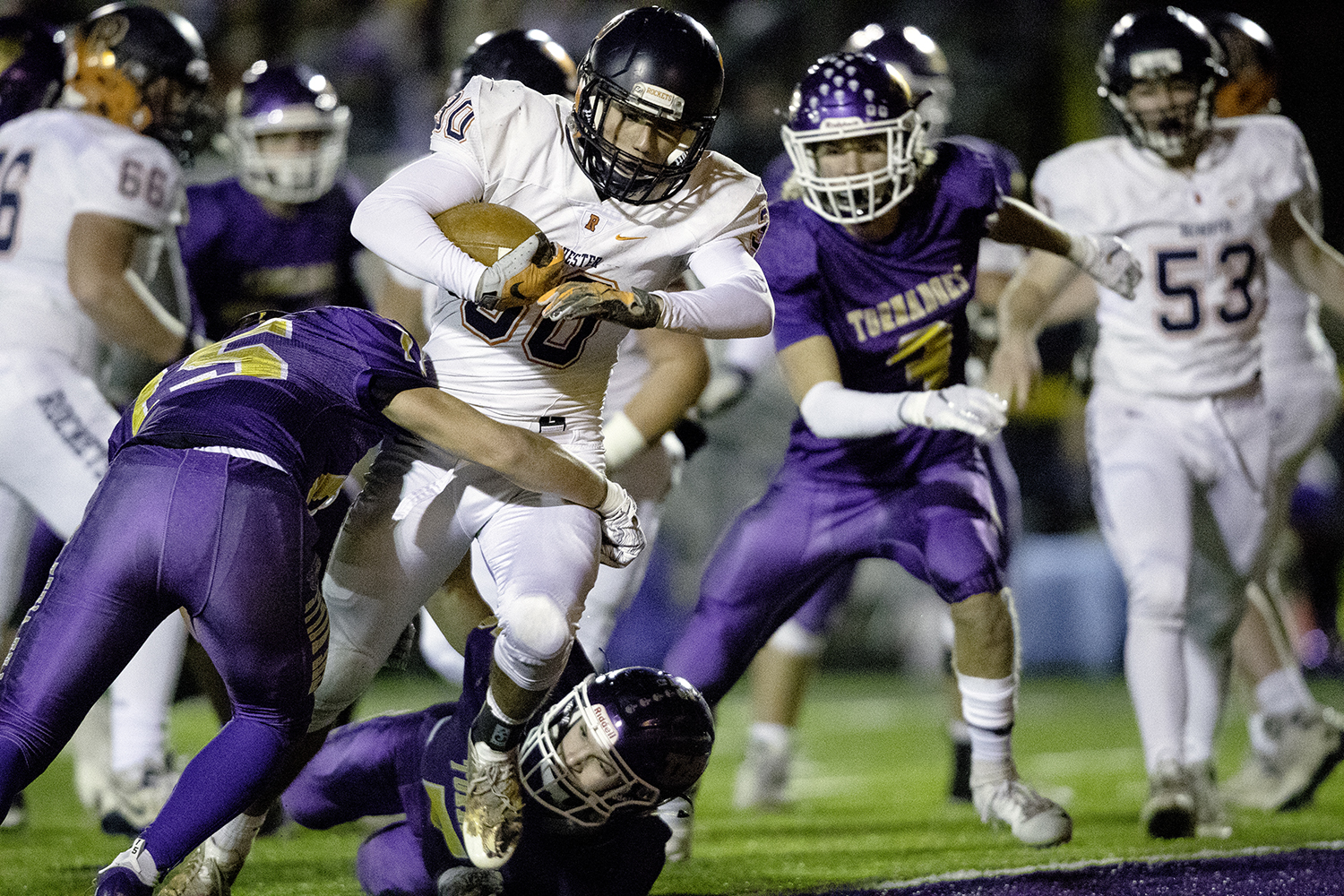 Rochester's Zach Gleeson plows into the endzone for a touchdown against Taylorville during the Class 4A quarterfinals in Taylorville Saturday, Nov. 10, 2018. [Ted Schurter/The State Journal-Register]